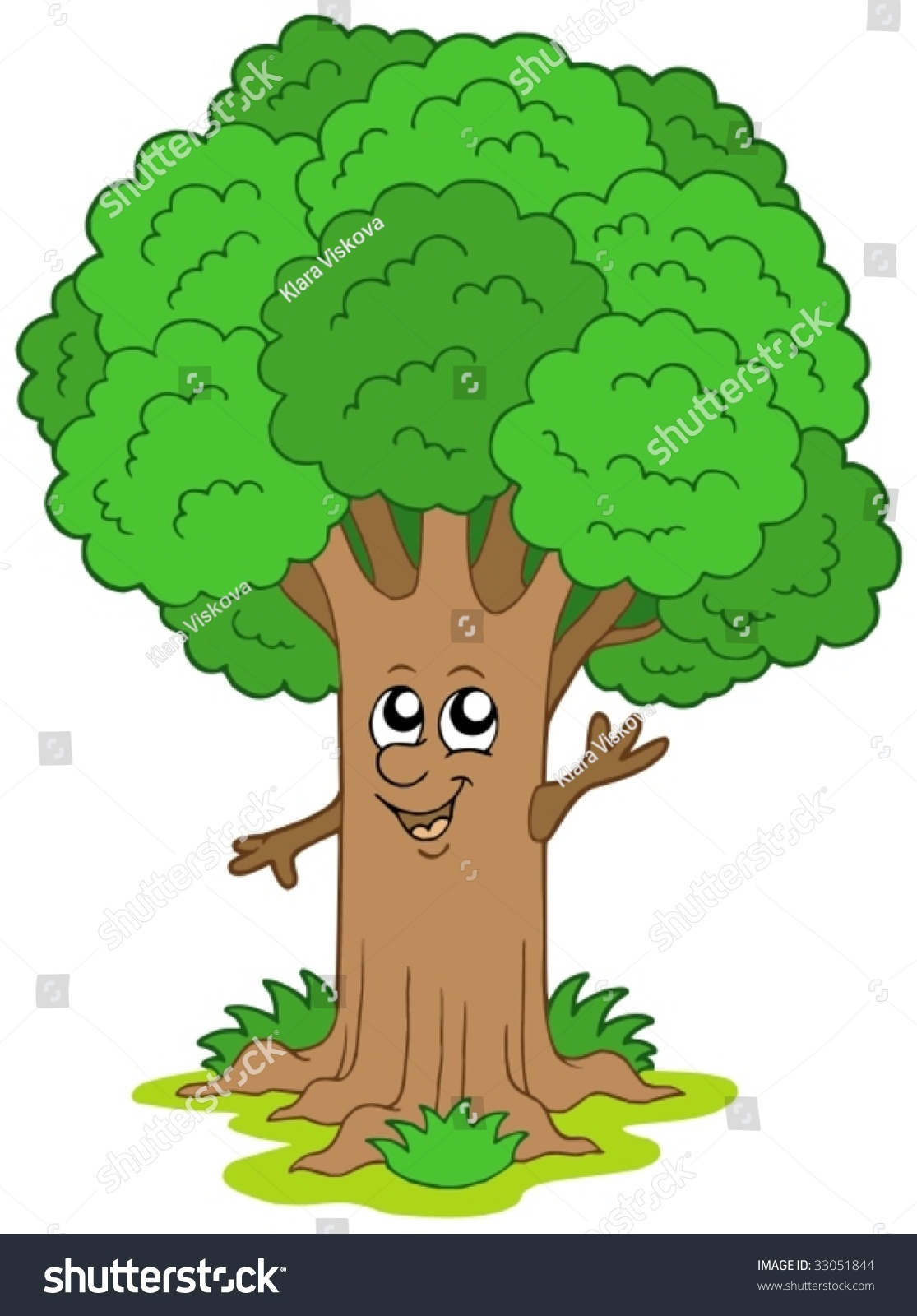Cute Cartoon Trees With Faces cartoon tree character - vector ...