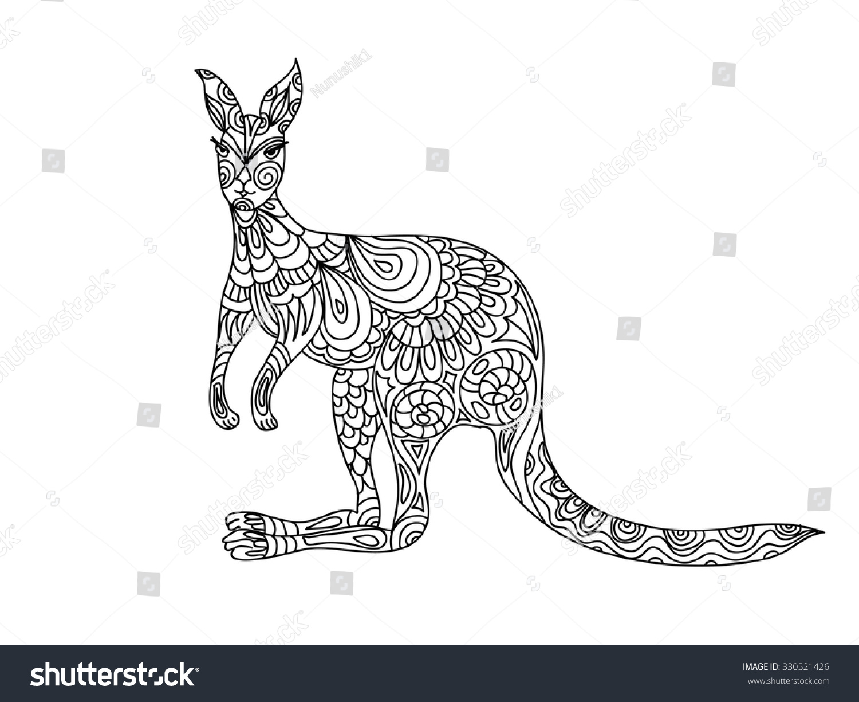 Kangaroo Zentangle Coloring Page 330521426