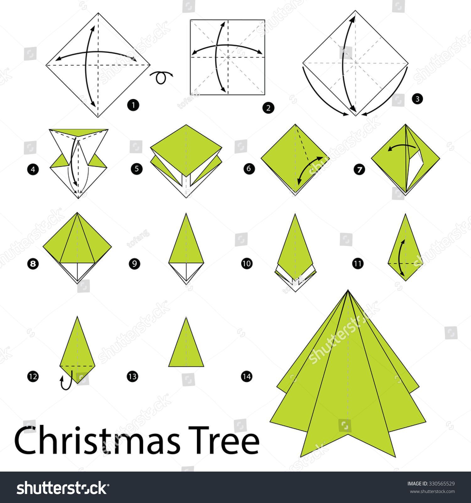 Step by step instructions how make stock vector 330565529 step by step instructions how to make origami christmas tree jeuxipadfo Images