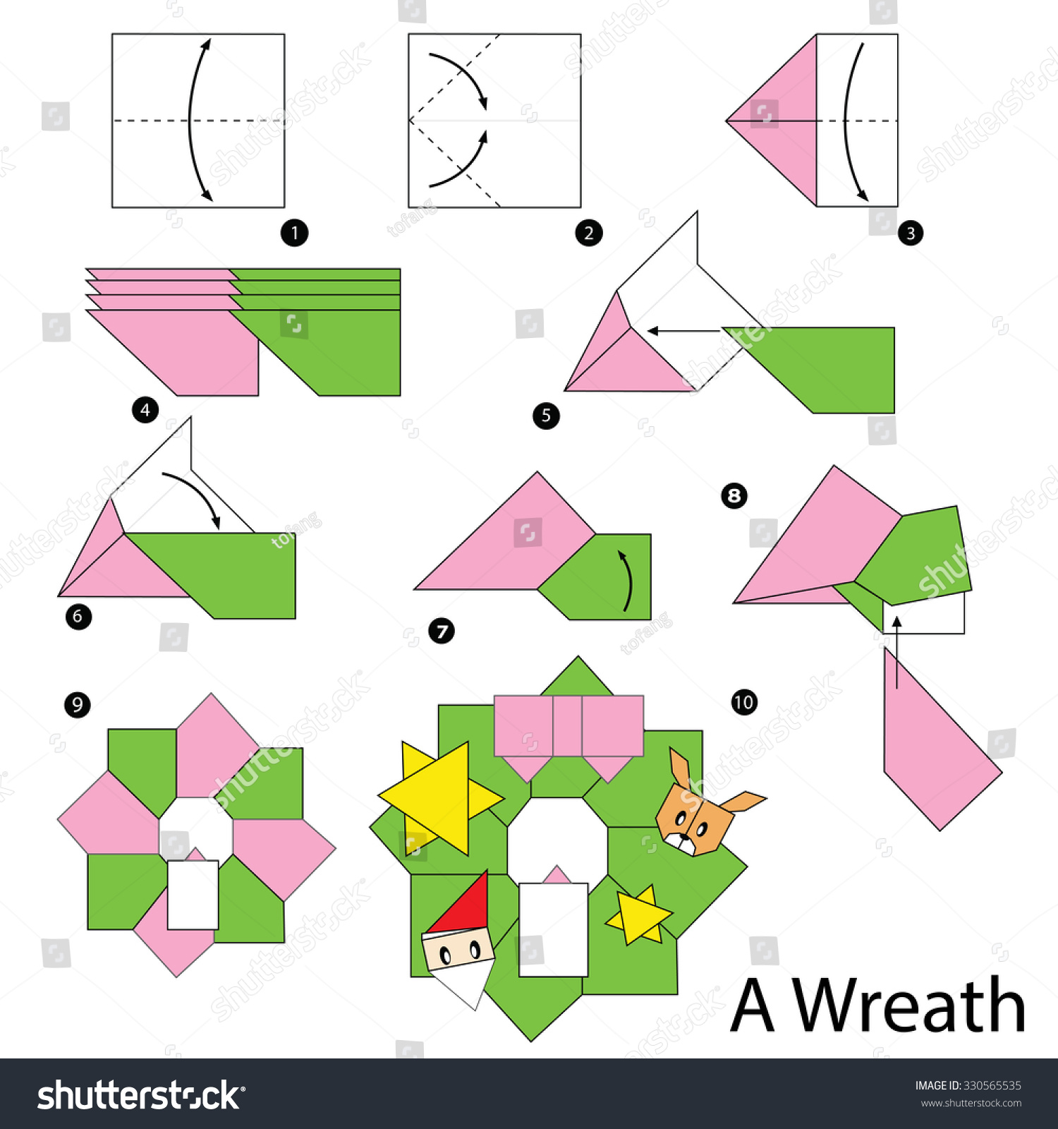 Christmas origami wreath - Step By Step Instructions How To Make Origami Christmas Wreath