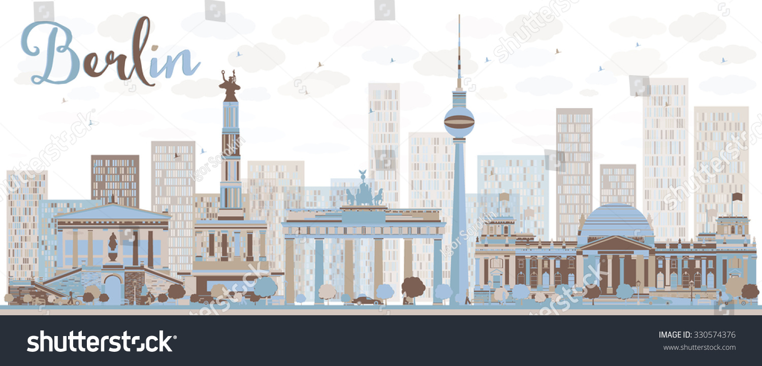 Outline athens skyline with blue buildings and copy space stock vector - Abstract Berlin Skyline With Color Building Vector Illustration Business And Tourism Concept With Historic