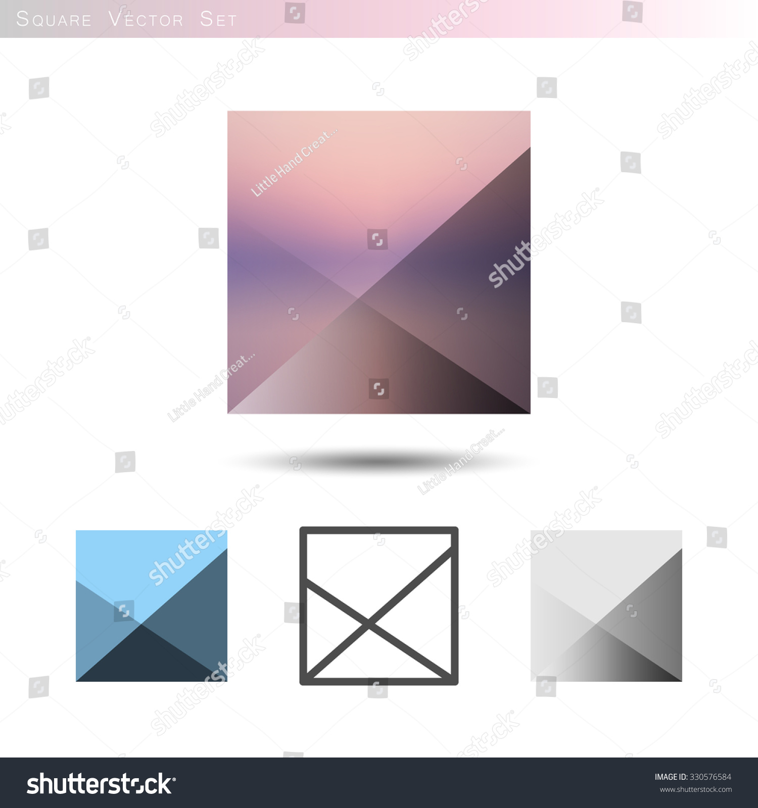 Square Vector Collection Isolated On White Stock Royalty Colorful Geometric Shapes Circuit Board Pattern Wall Clock Cube Set With Gradient Blue Color Palette