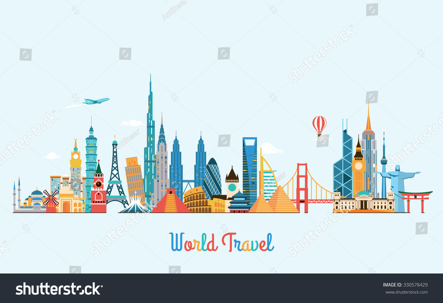 World Skyline Travel Tourism Background Vector Stock