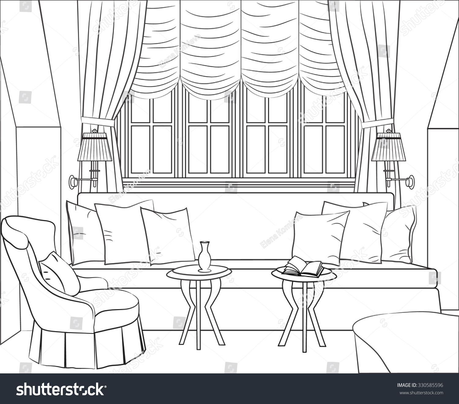 Outline drawing interior room window sofa stock vector for Living room outline