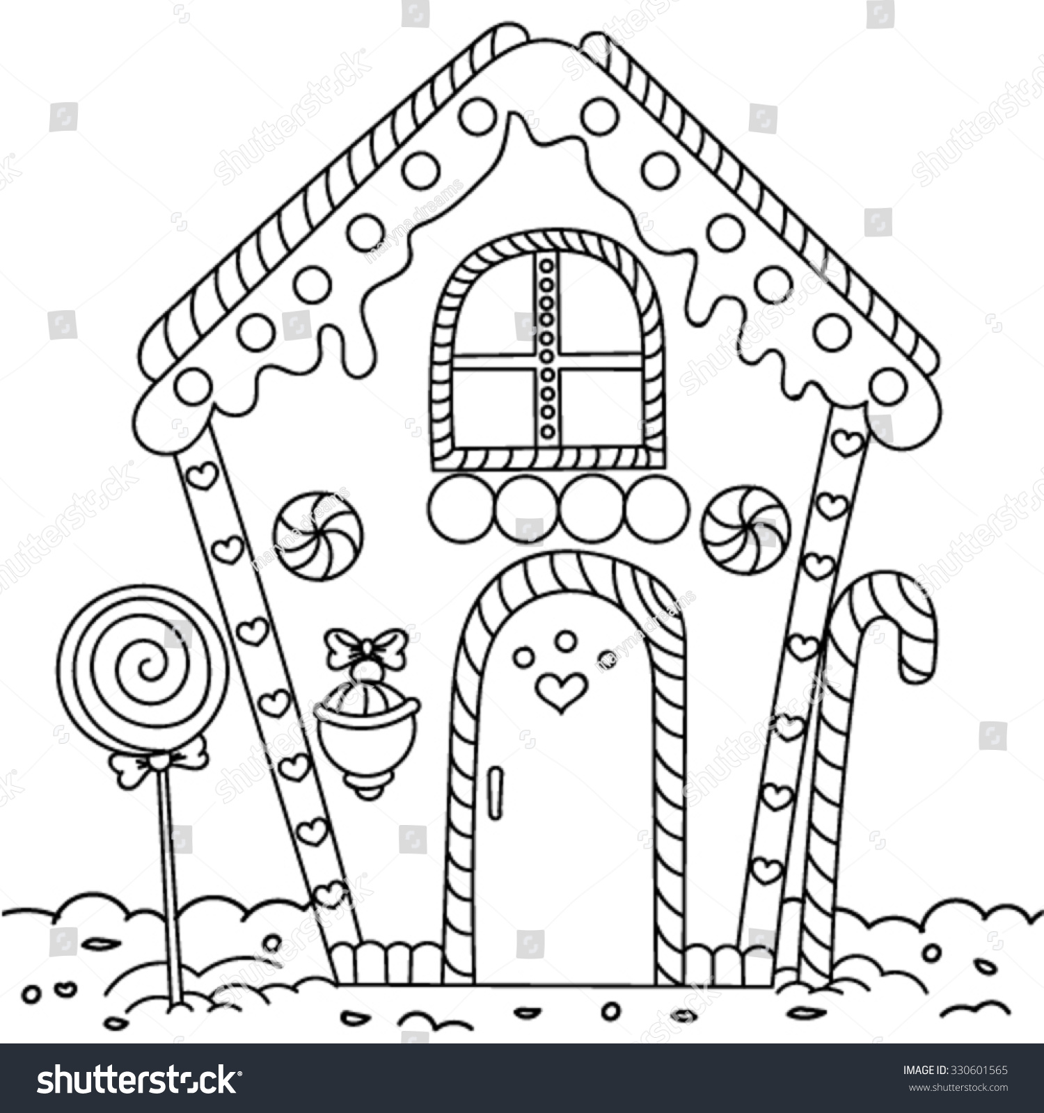 Line Art Illustration Gingerbread House Coloring Stock Vector ...