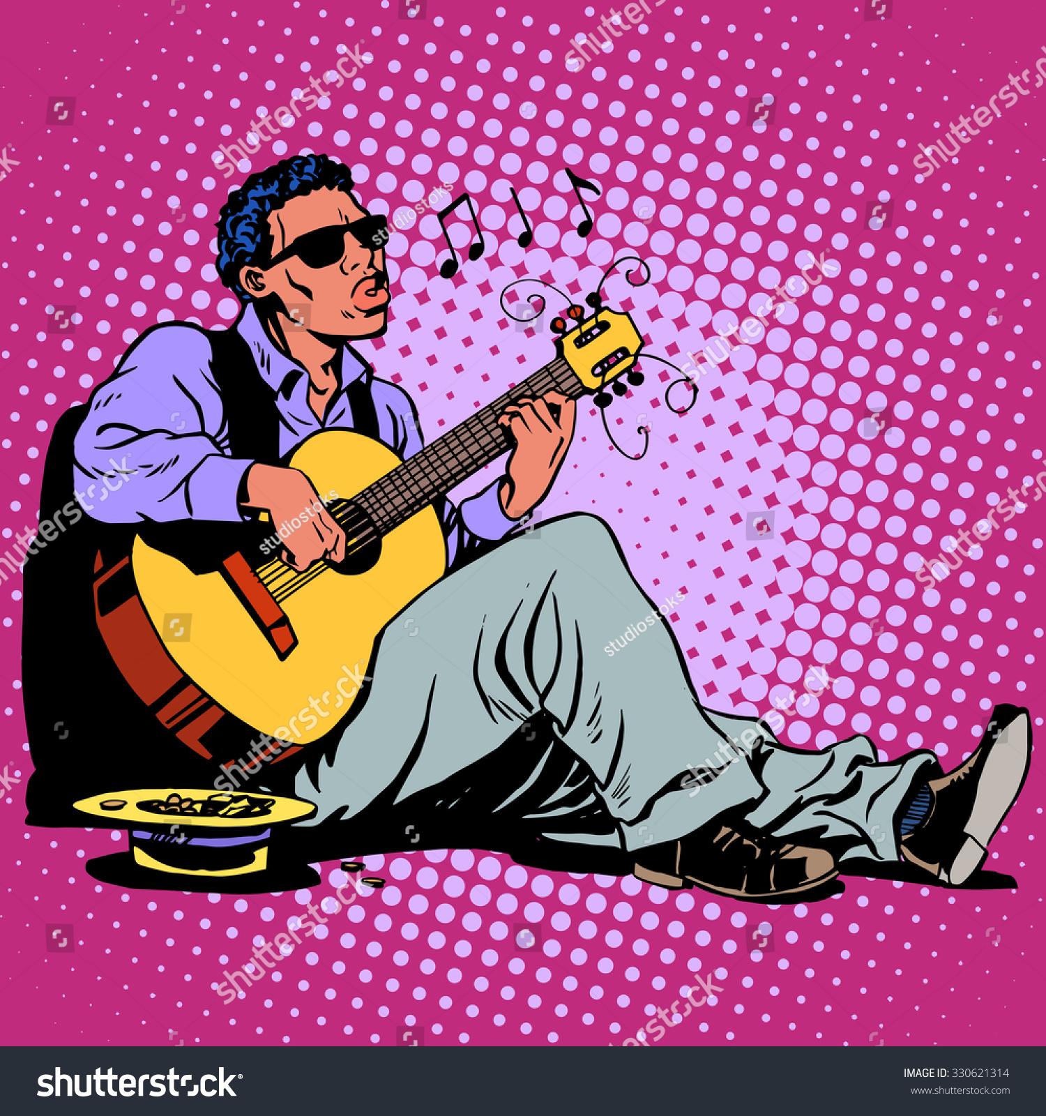 Street Blues Musician African Descent Guitar Stock Vector 330621314 Shutterstock