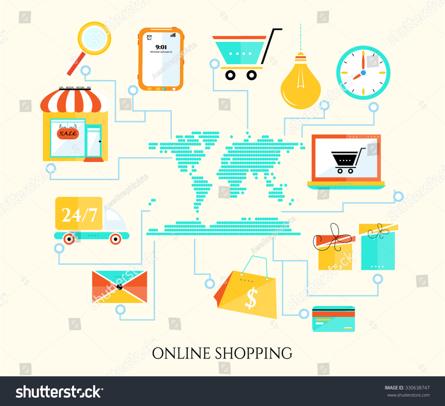 Business background online shopping world map stock vector hd business background online shopping world map with simple icons shopping trolley lightbulb gumiabroncs Gallery