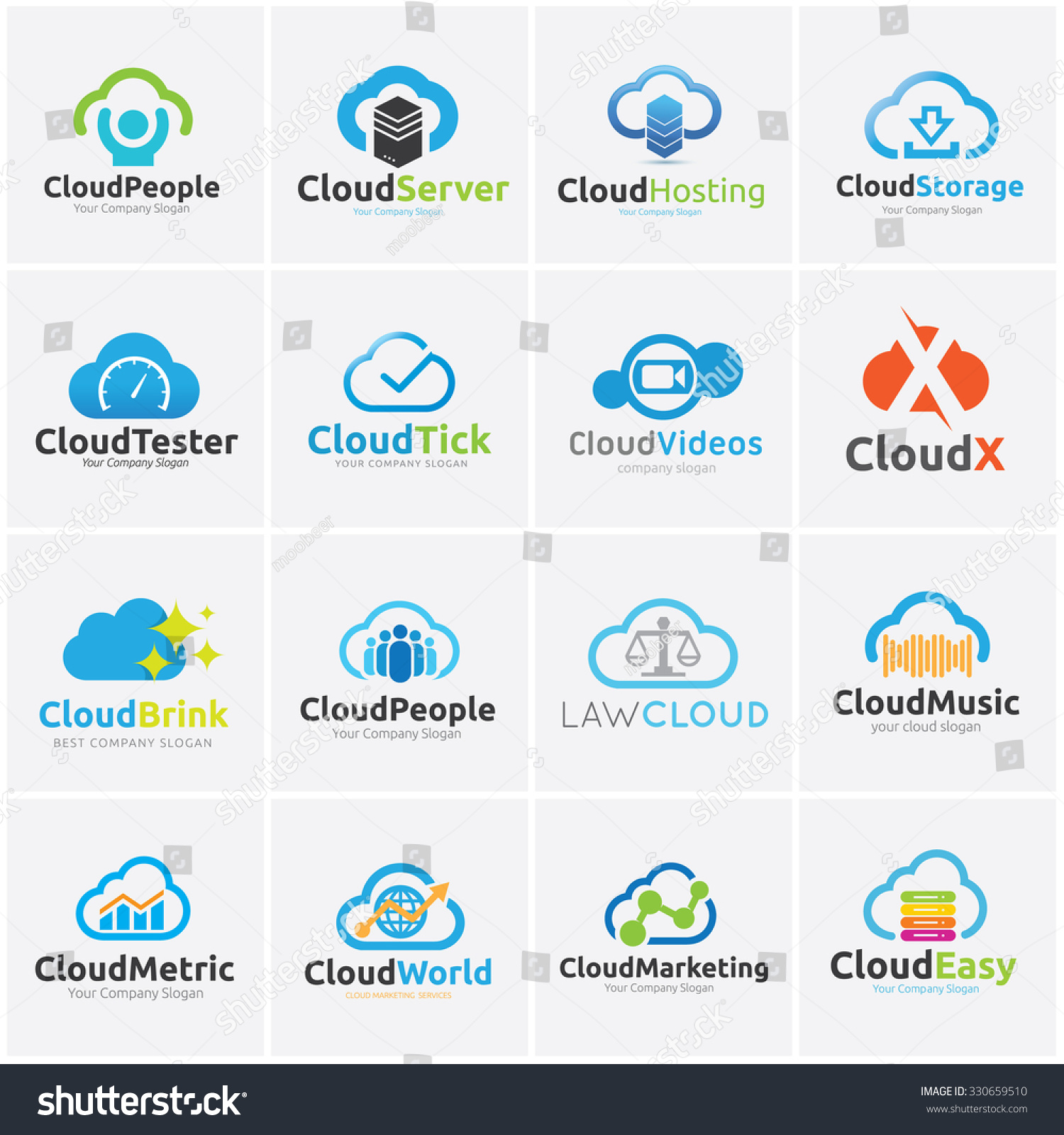 royalty free cloud logo collection cloud logo law 330659510 stock