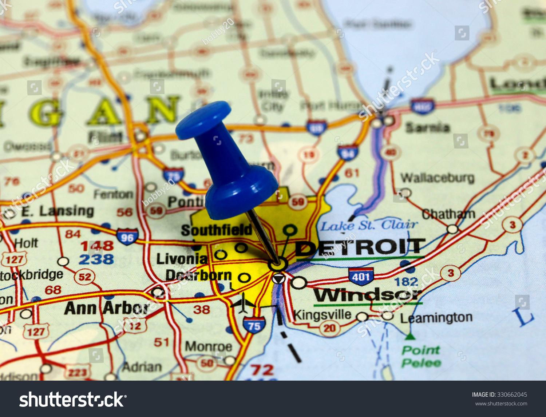 Map Pin Point Detroit Usa Stock Photo  Shutterstock - Usa map states detroit