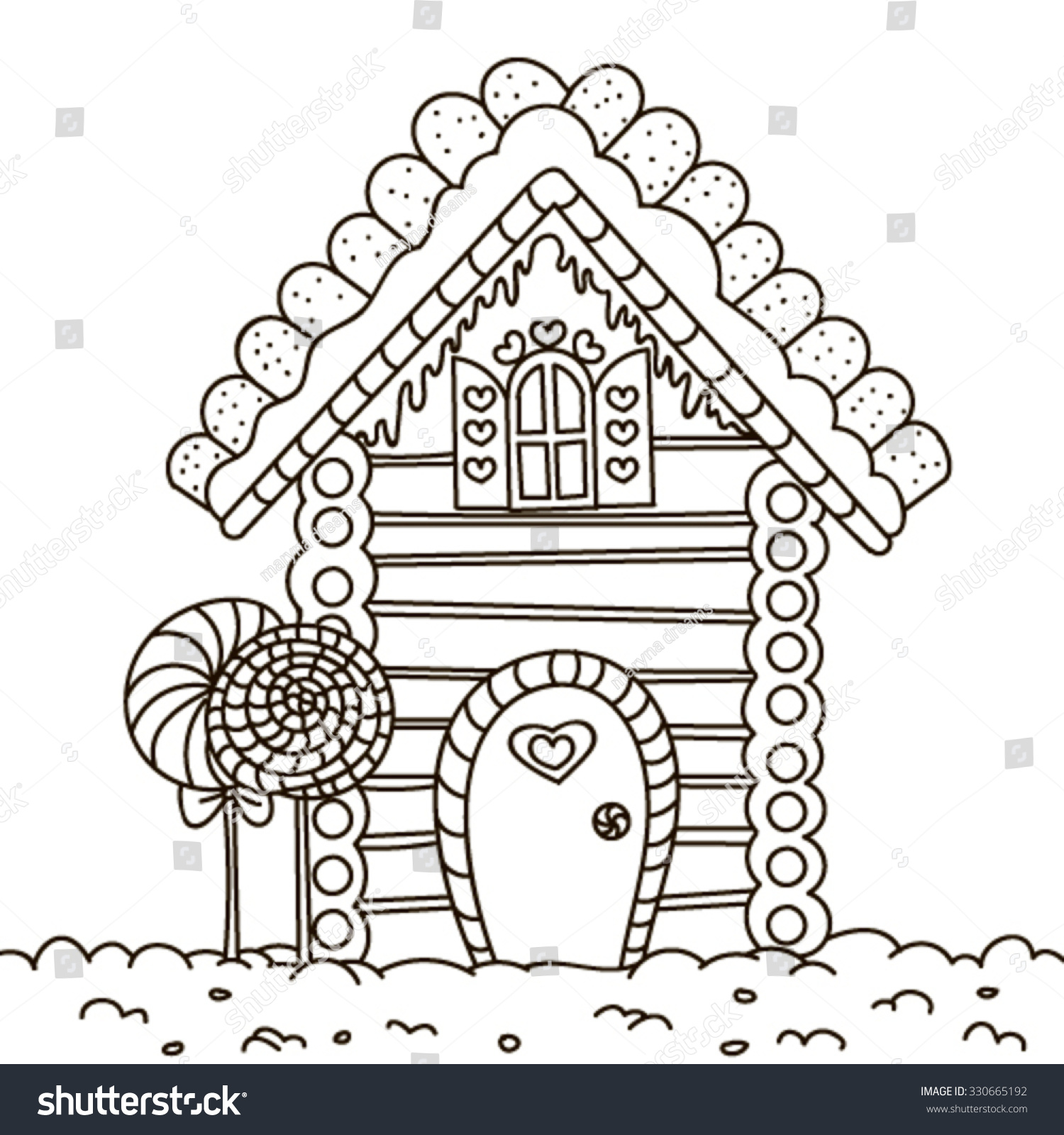 stock-vector-line-art-illustration-of-a-gingerbread-house-coloring-page-330665192