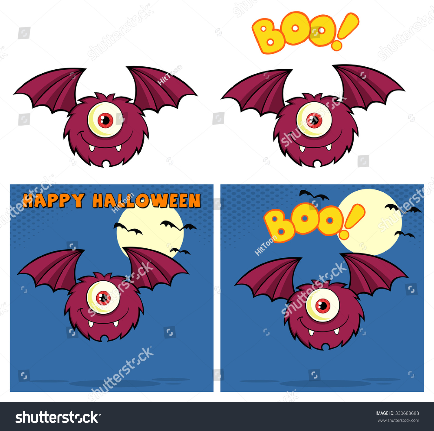 1 Eyed Cartoon Characters : Furry one eyed monster cartoon character stock vector