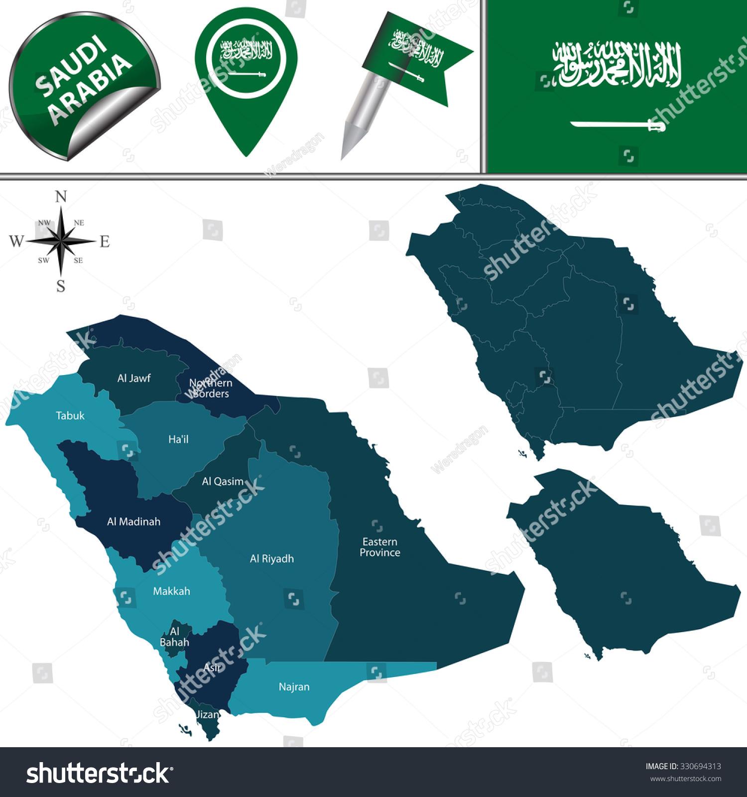 Vektor Kort Over Saudi Arabien Med Navngivne Lagervektor