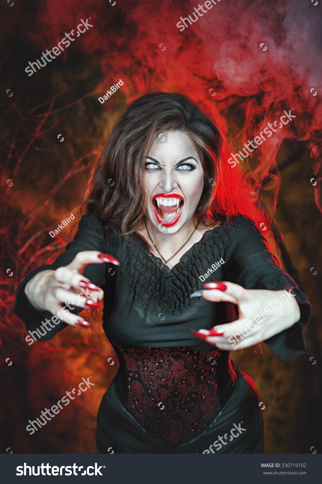 Angry Halloween Beautiful Vampire Long Nails Stock Photo ...