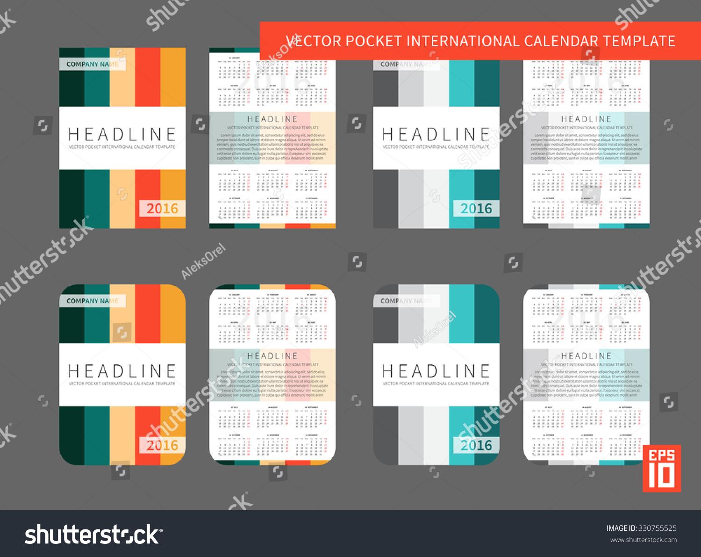 Vector Uk International Pocket Calendar Template Stock Vector