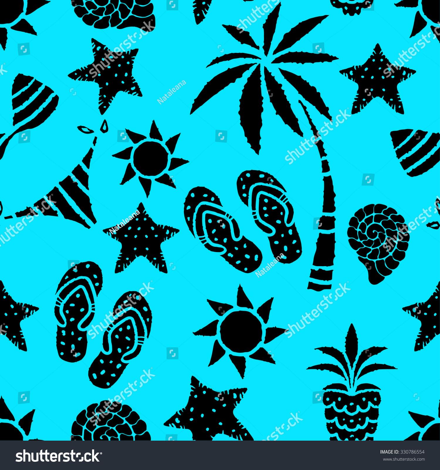 310b9dc85c7db Seamless Pattern Sun Palm Tree Pineapple Stock Illustration ...