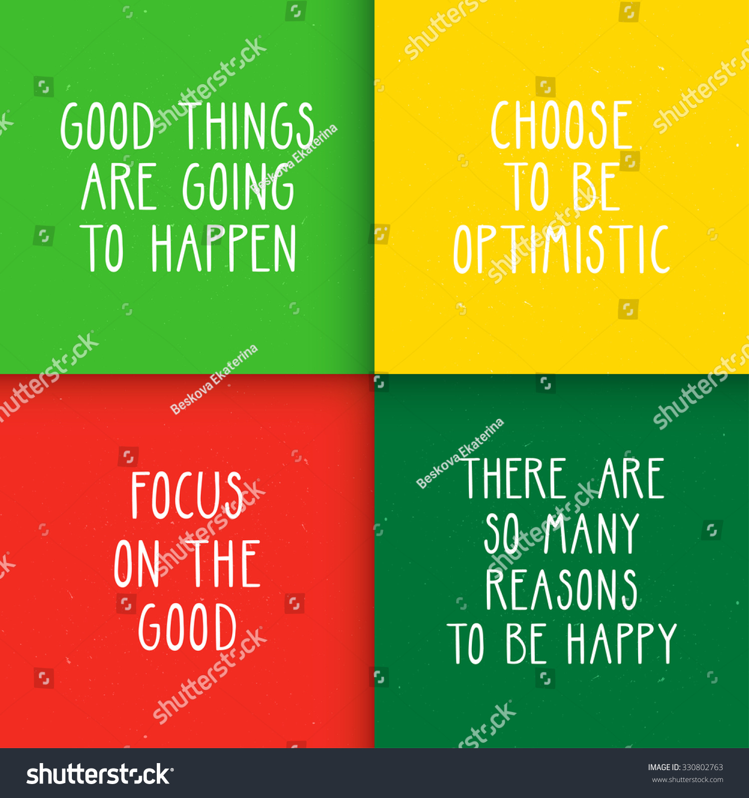Set Four Motivational Posters Optimistic Quotes Stock Vector ...