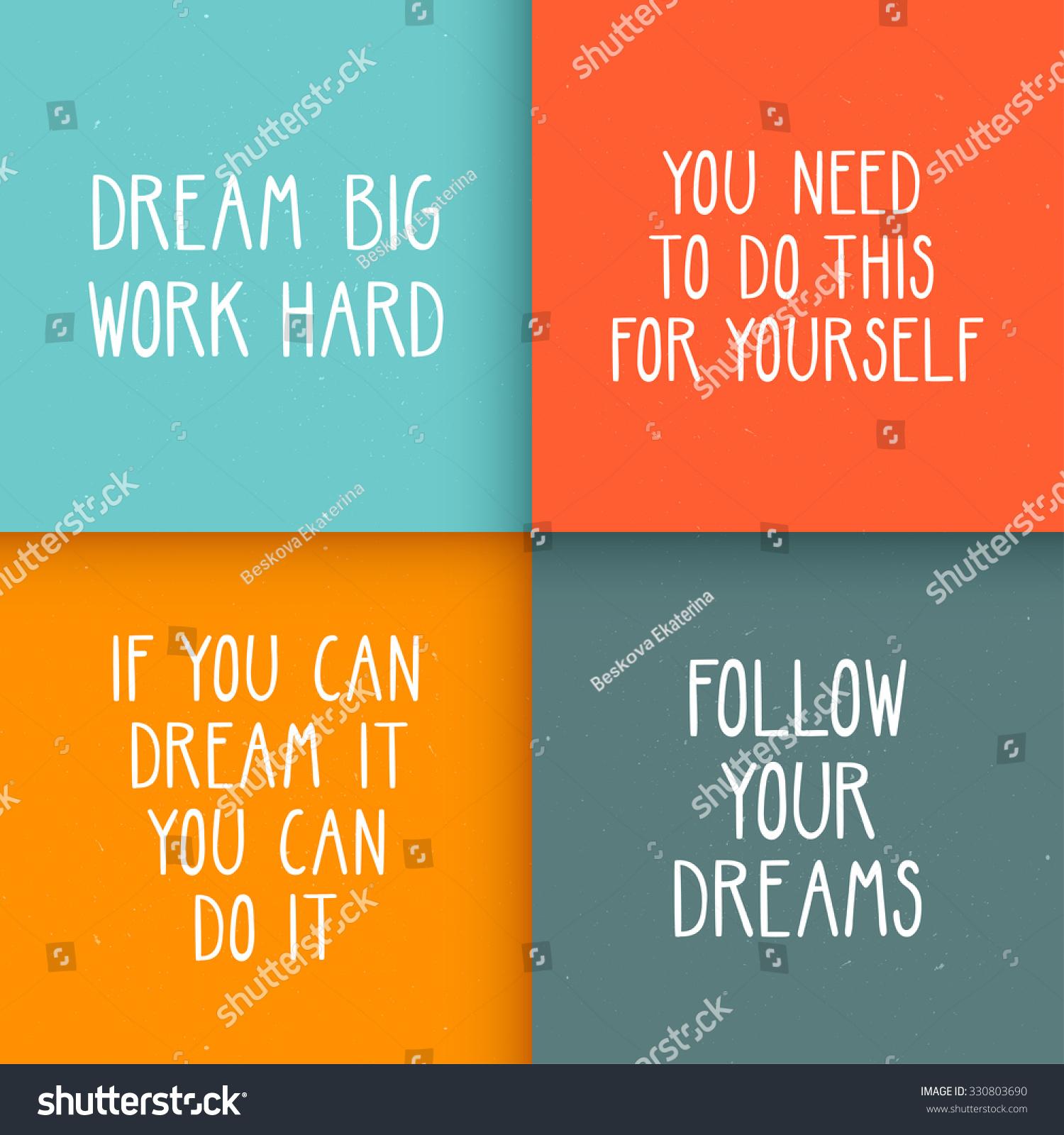 Optimistic Quotes Set Four Motivational Posters Optimistic Quotes Stock Vector
