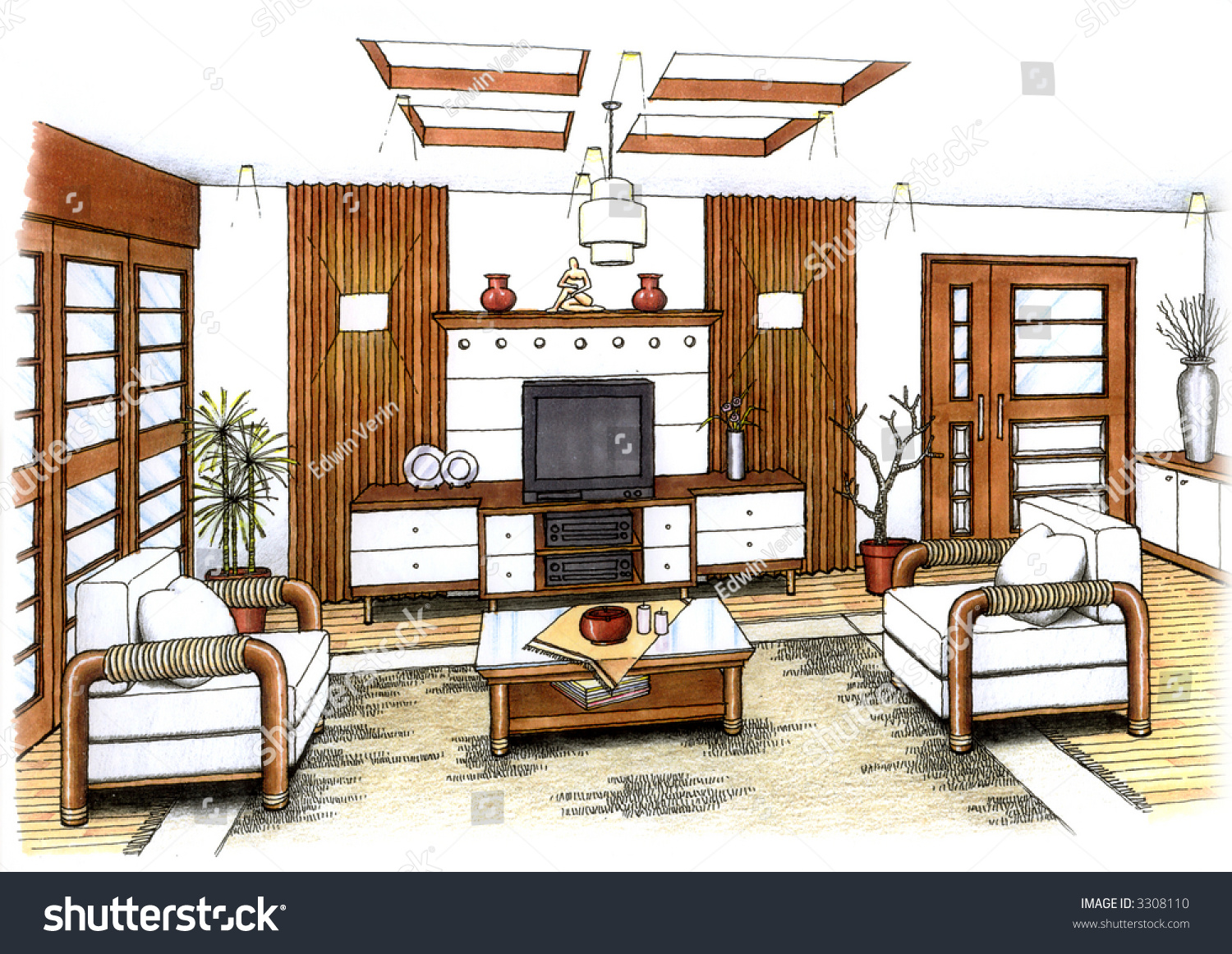 An Artists Simple Sketch Of Interior Design A Living Room And