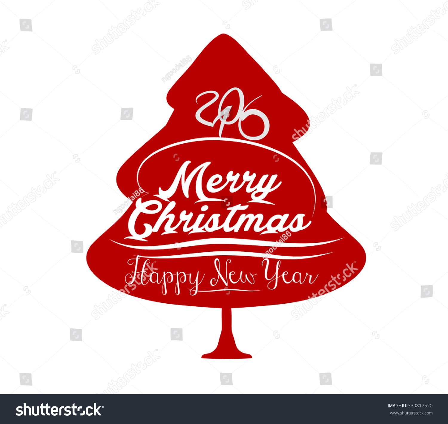 Happy New Year Merry Christmas Tree Stock Vector Royalty Free