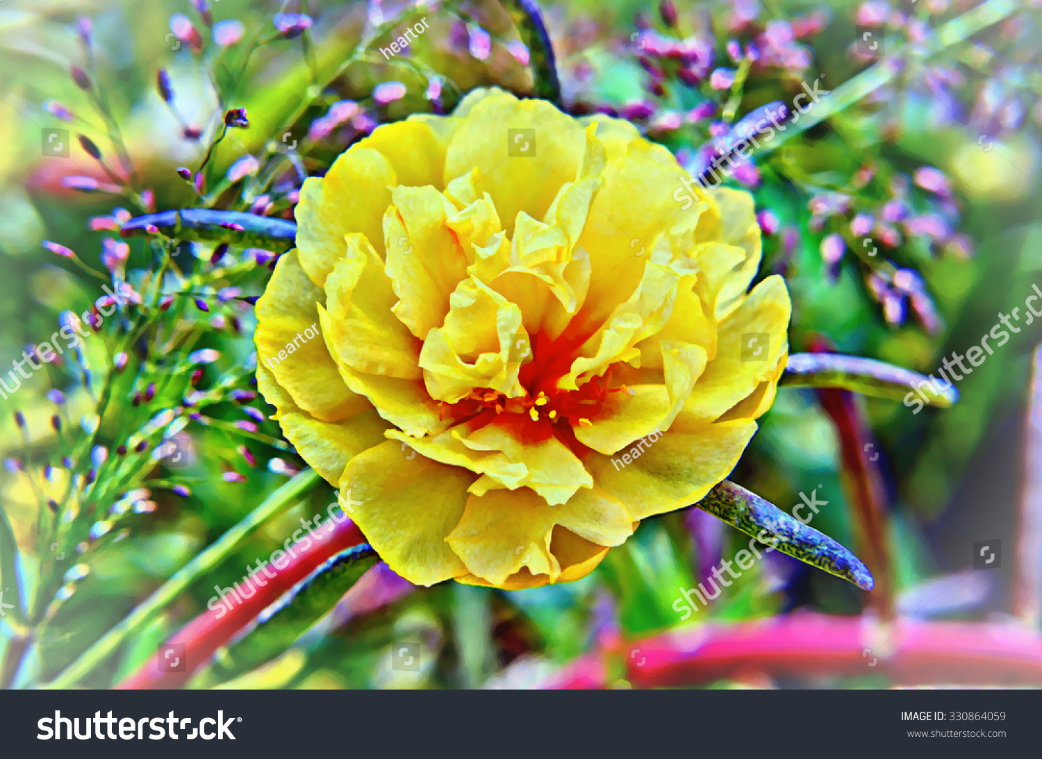 Watercolor Botanic Illustration Pretty Little Flowers Stock