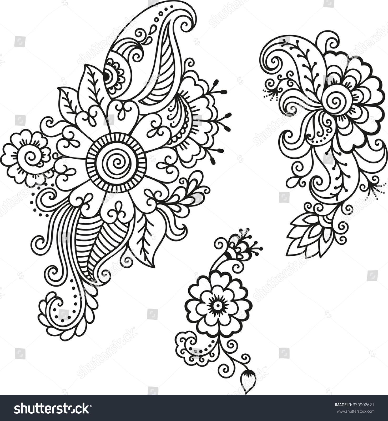 Henna Design Outline: Henna Tattoo Flower Templatemehndi Stock Vector 330902621