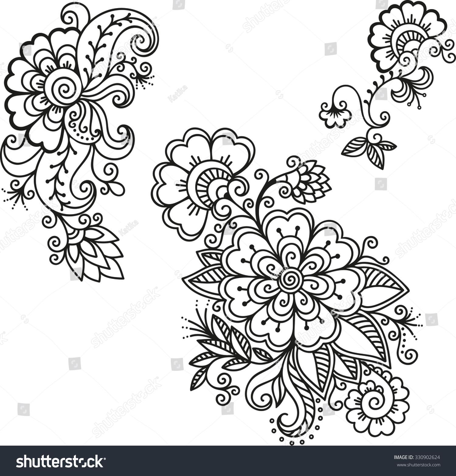 Henna Tattoo Vector: Henna Tattoo Flower Templatemehndi Stock Vector 330902624