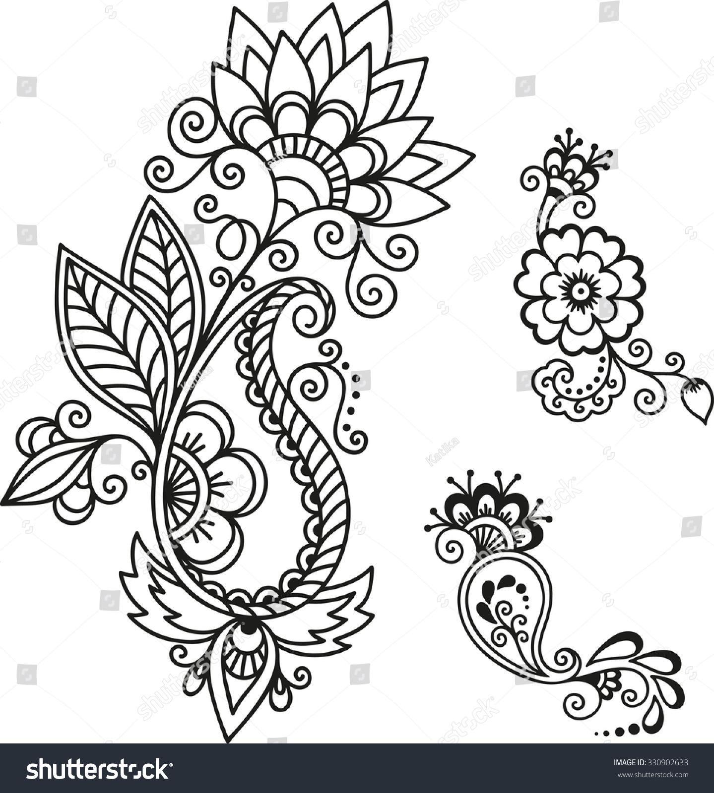 Mehndi Patterns Templates : Henna tattoo flower templatemehndi stock vector