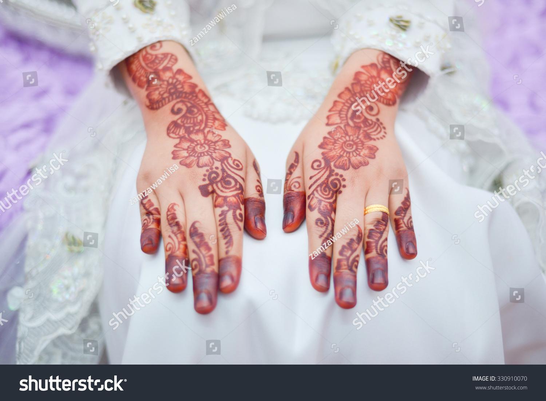 Closeup Hands Malay Wedding Henna Selective Focus Stock Photo Edit