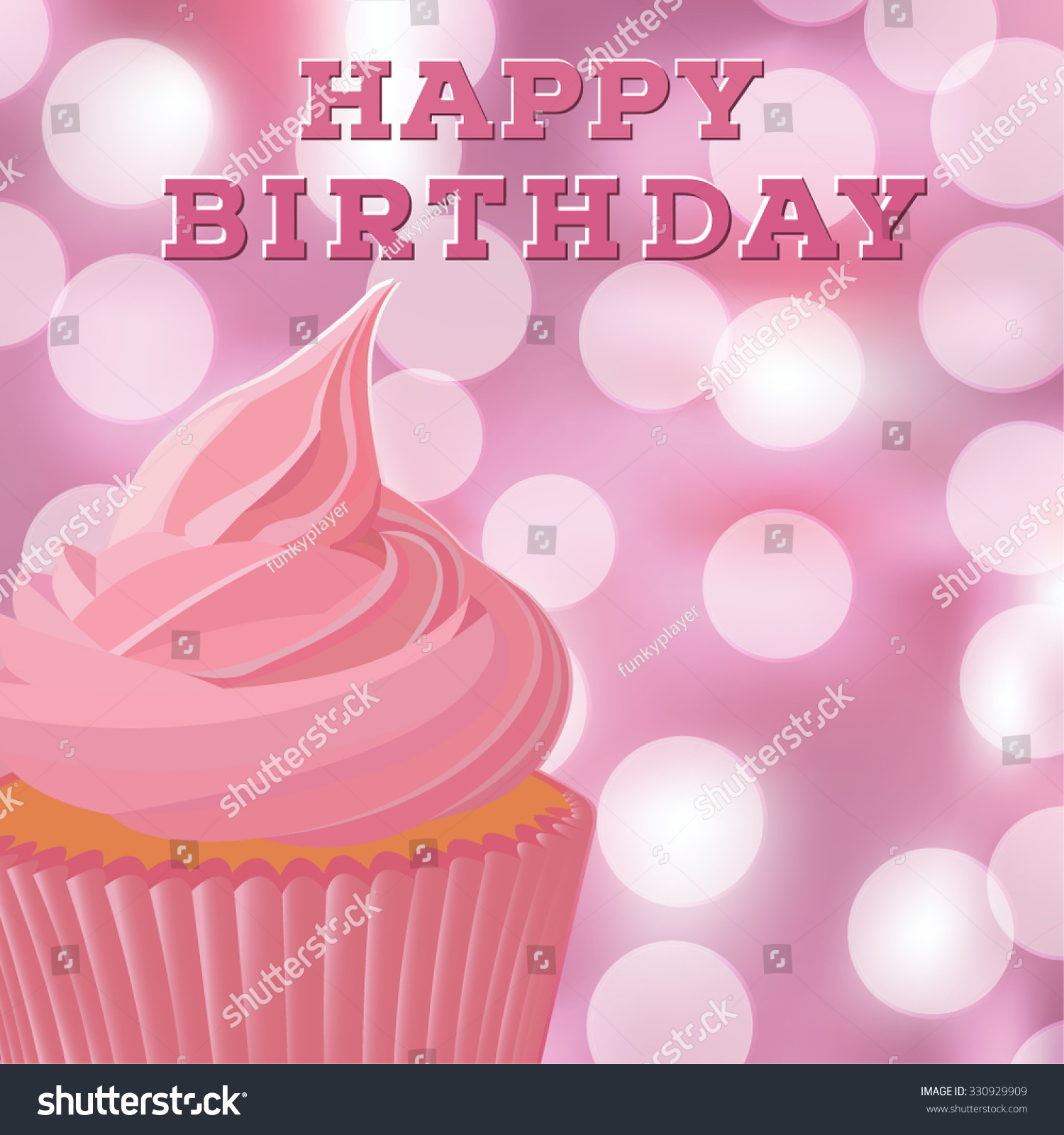 Happy Birthday Greeting Card Template Pink Stock Vector Royalty