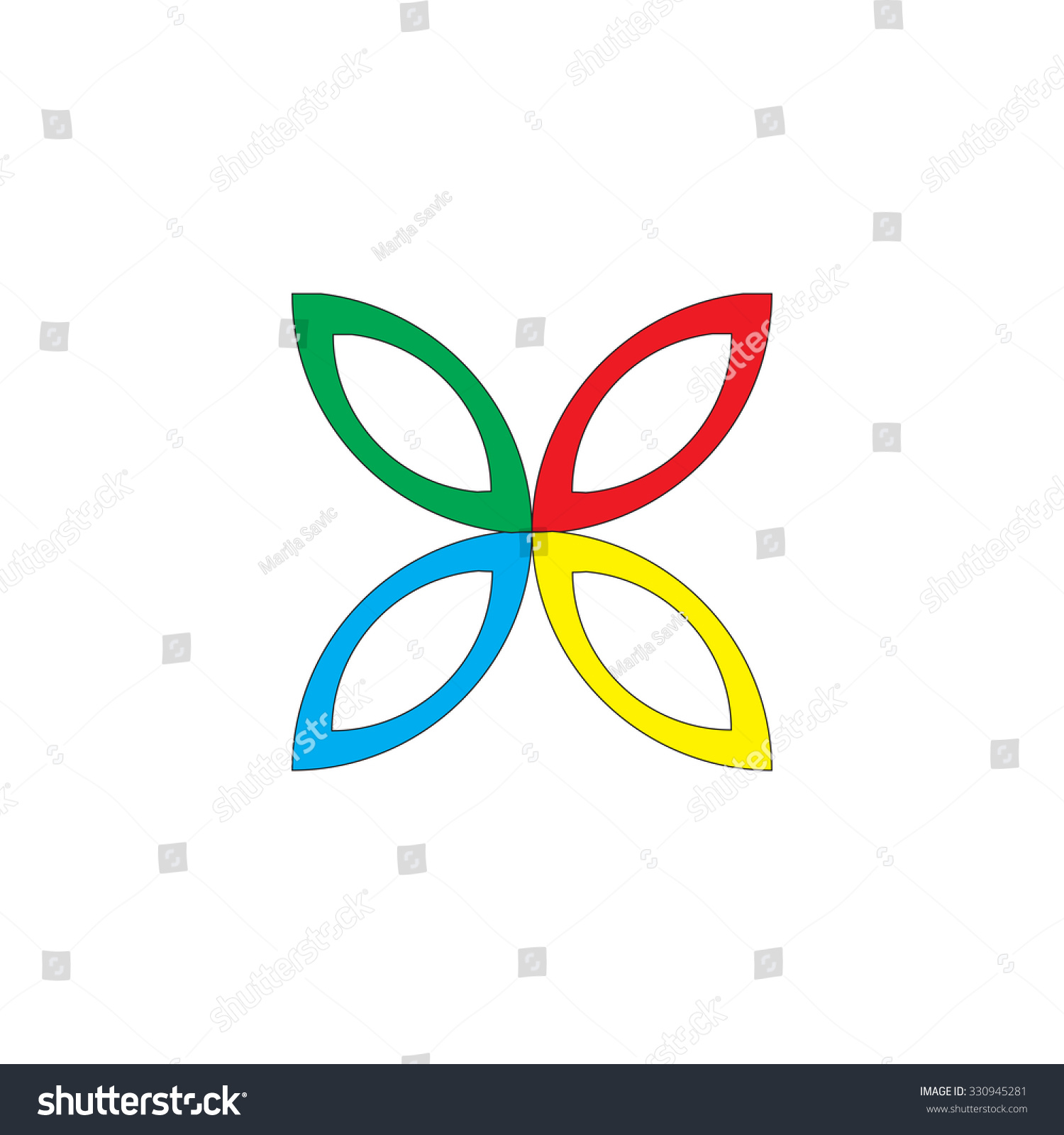 Four Flower Petals Green Red Blue Stock Vector Royalty Free