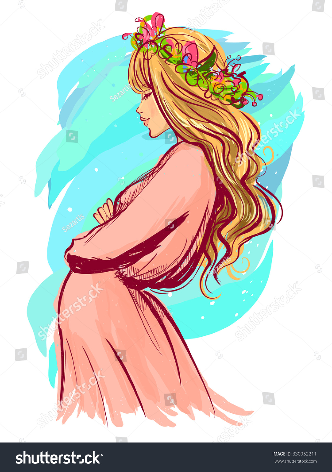 Vector Stylish Portrait Beautiful Pregnant Woman Stock Vector 330952211 Shutterstock