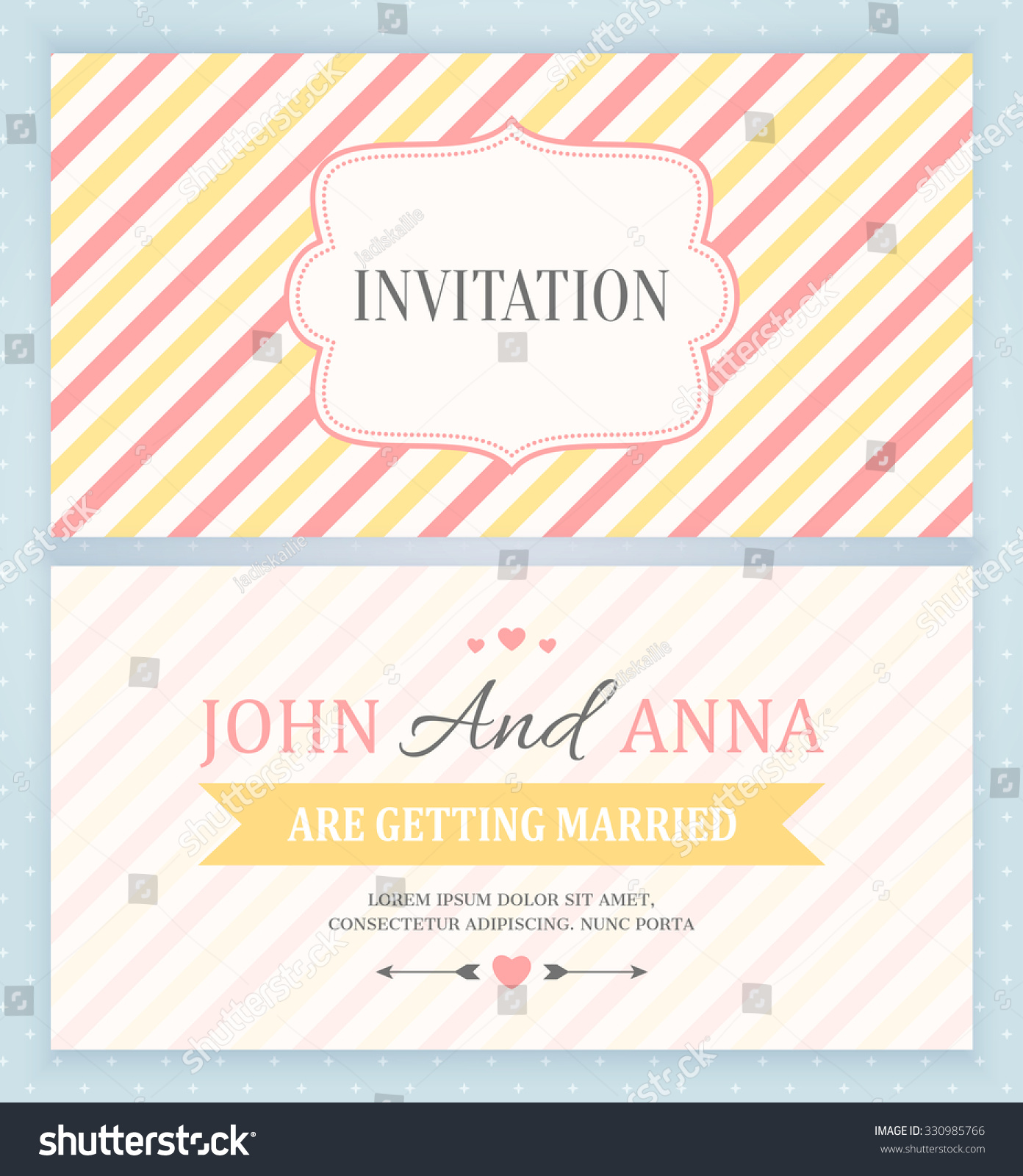 Wedding invitation card back front vector stock vector 330985766 wedding invitation card back and front vector illustration stopboris Images