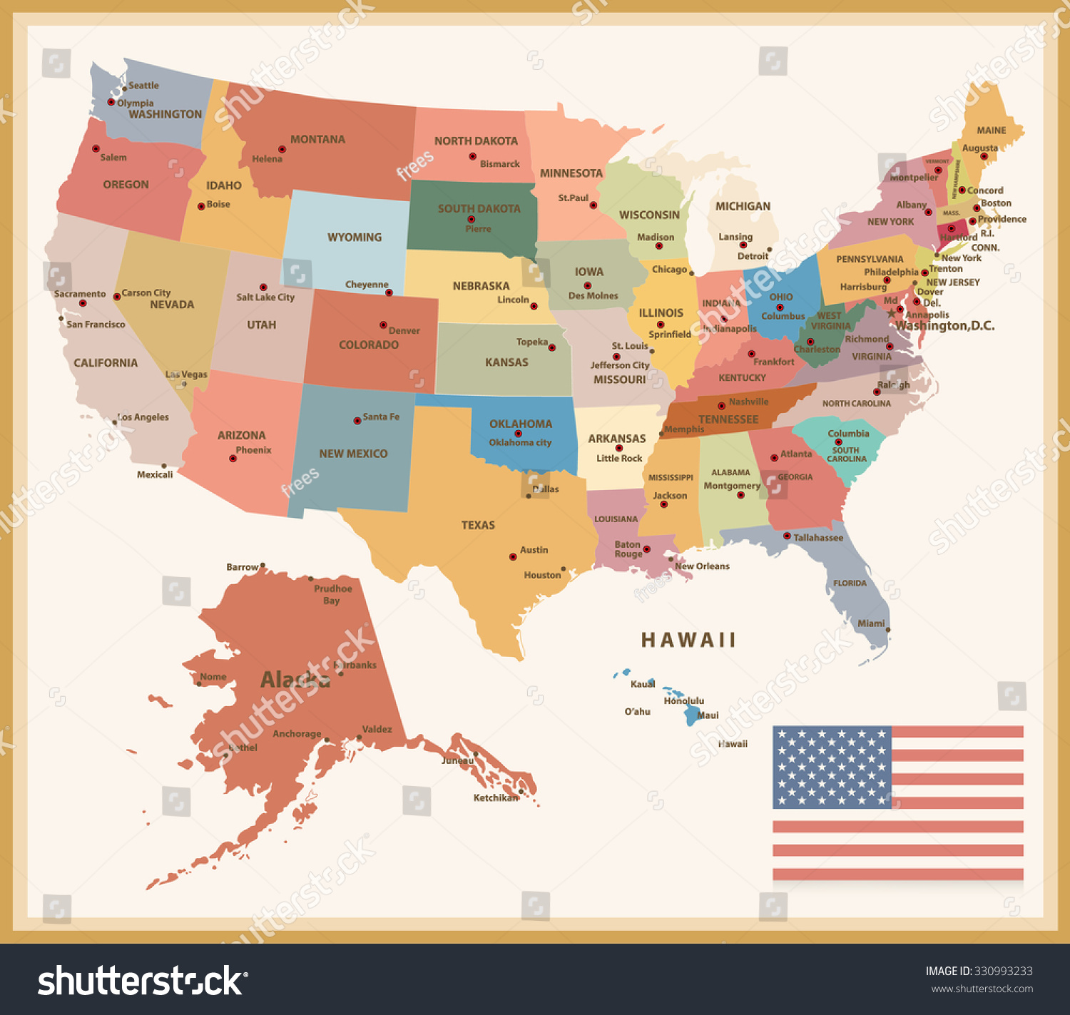 Vintage Color Political Map Of The Usa With Flag Stock Vector - Map usa political