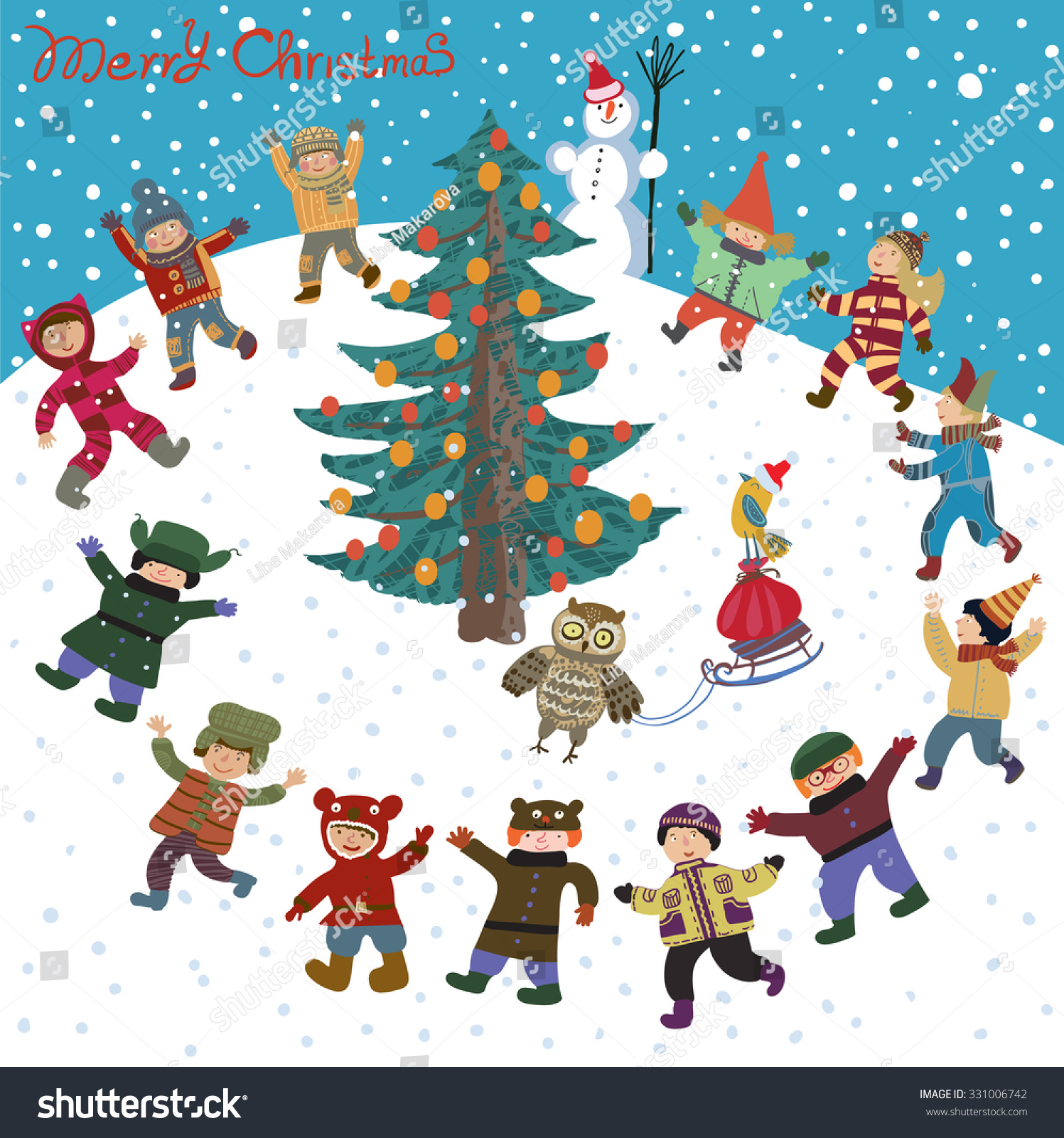 Bright Cartoon Christmas New Year Card Stock Vector (Royalty Free ...