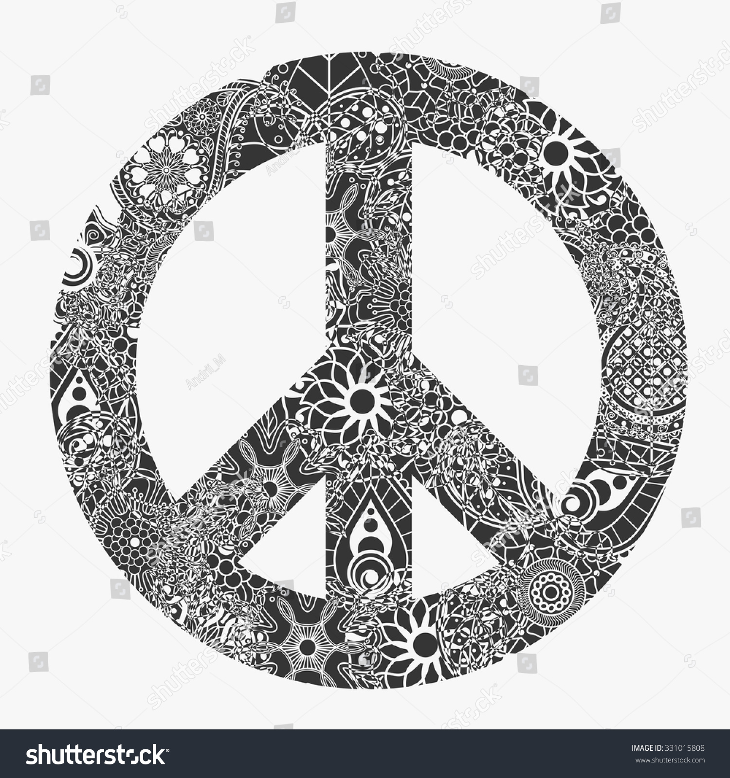 Peace Symbol Hipster Round Pacifism Sign Stock Vector Royalty Free