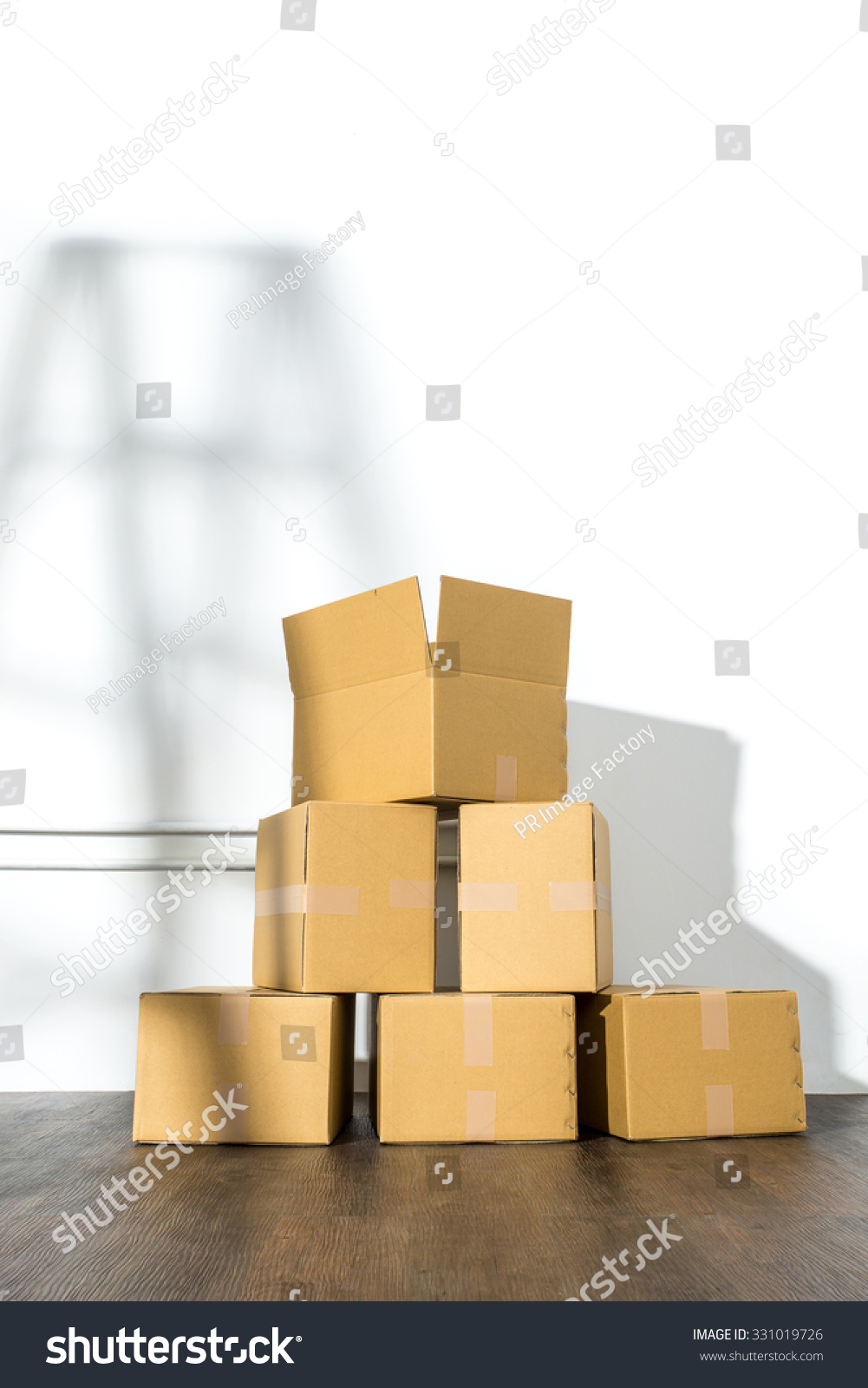 Pile cardboard boxes on white background stock photo