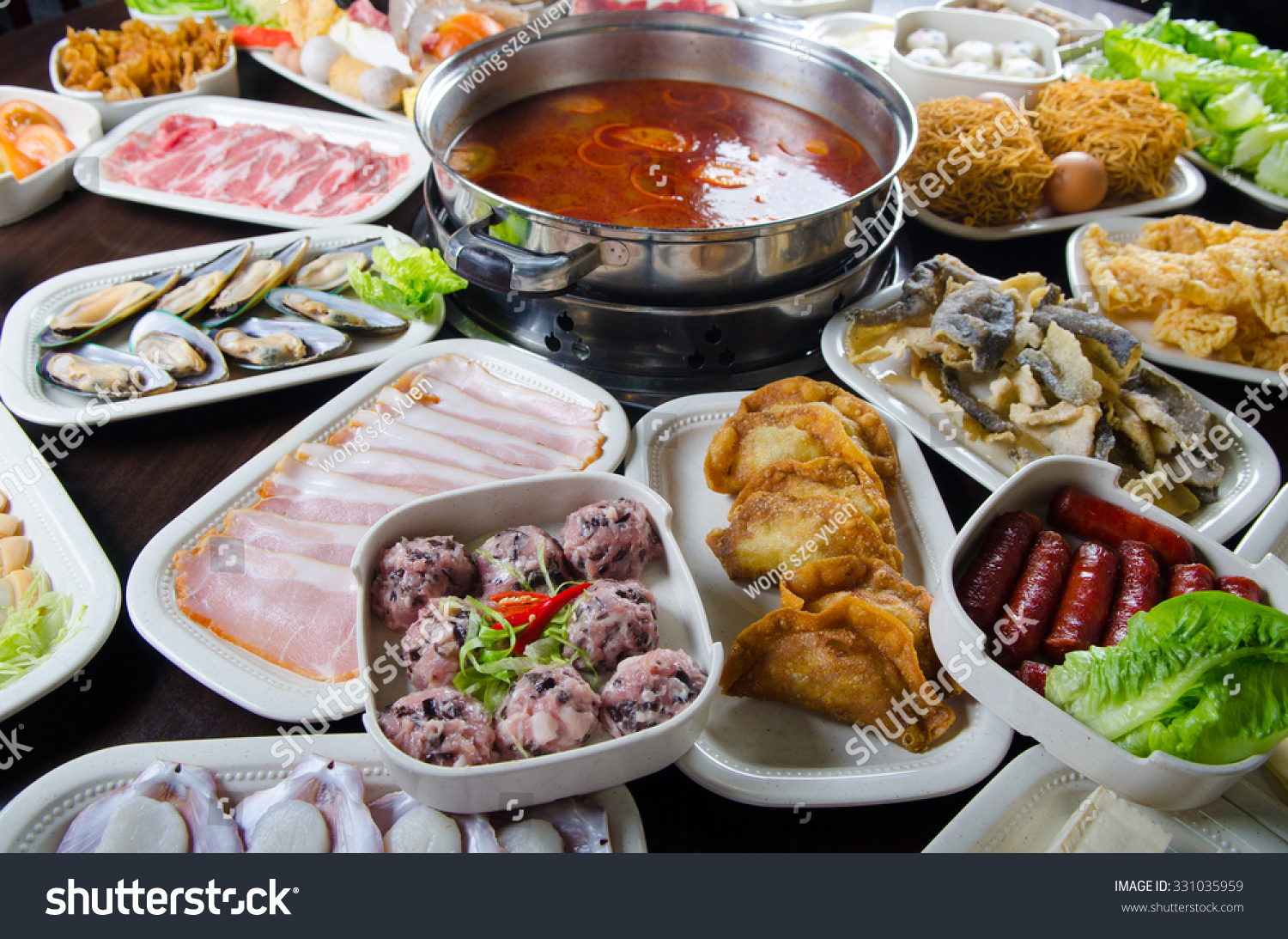 Asian cuisine spicy hot pot with wide variety of for Asian cuisine ingredients