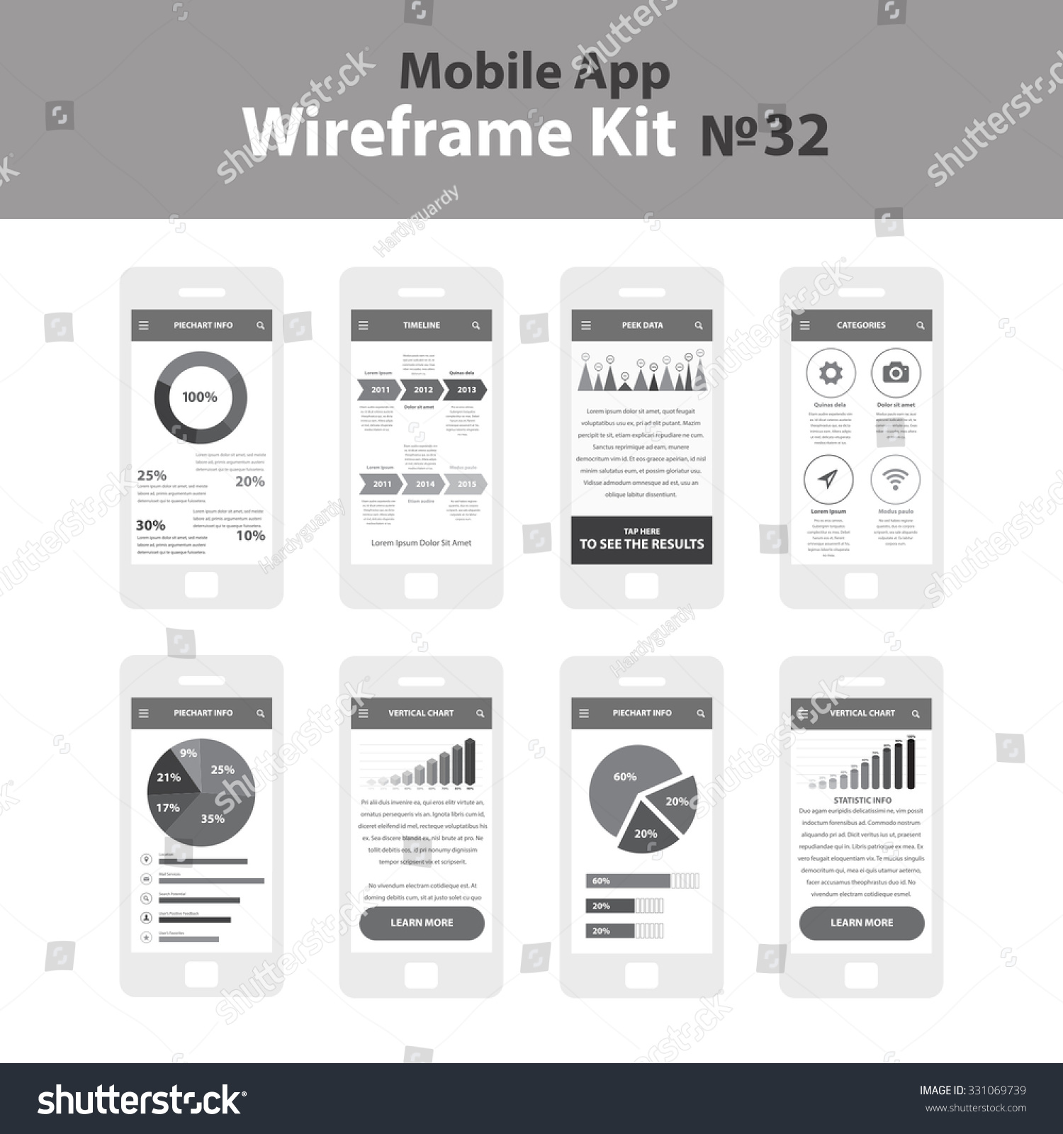 Image Info App Stock Vector Mobile Wireframe App Ui Kit Piechart