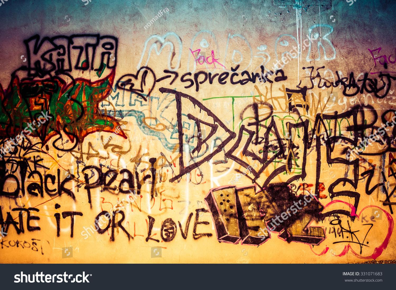Ugly Graffiti Wall Urban Art Stock Photo (Royalty Free) 331071683 ...