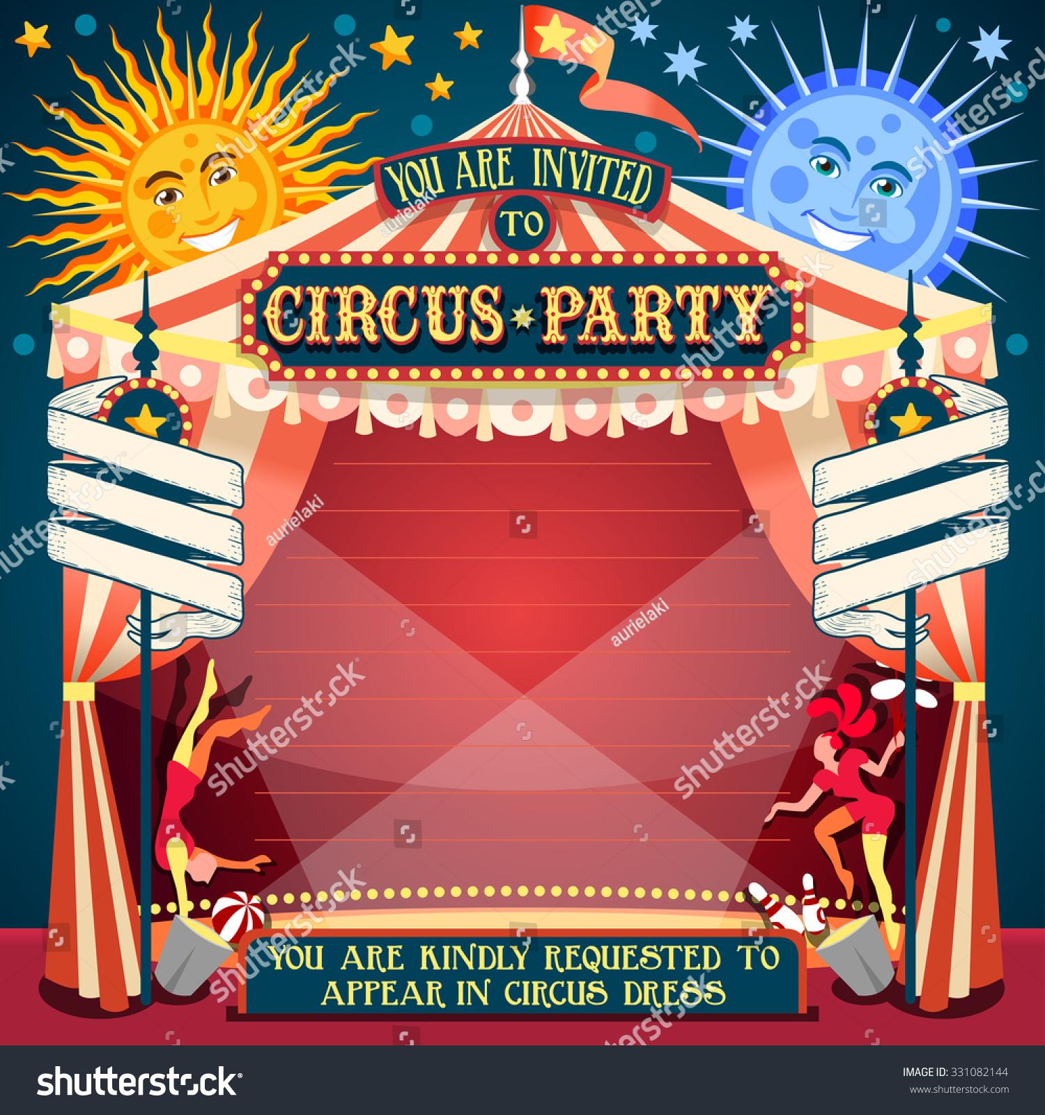 Carnival Circus Tent Invite Fair Template Stock Vector (Royalty Free ...