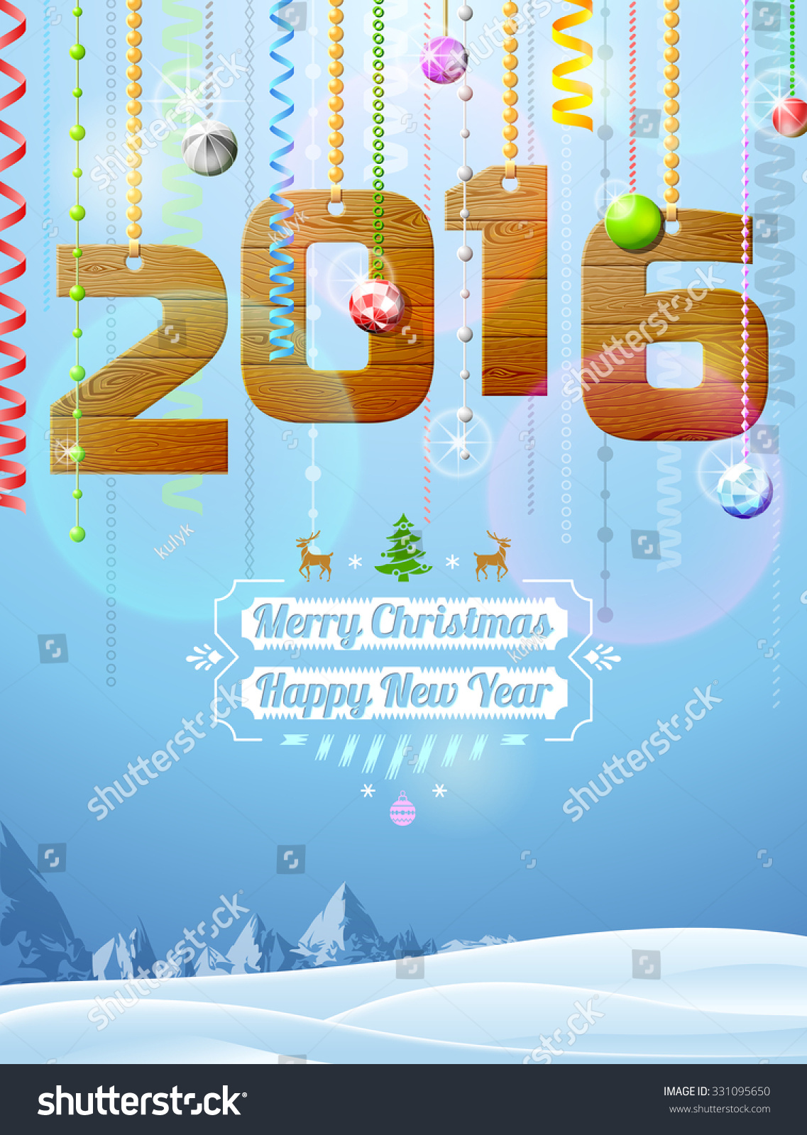 Winter landscape with christmas congratulation Qualitative vector illustration for new year's day christmas winter holiday new year's eve silvester etc