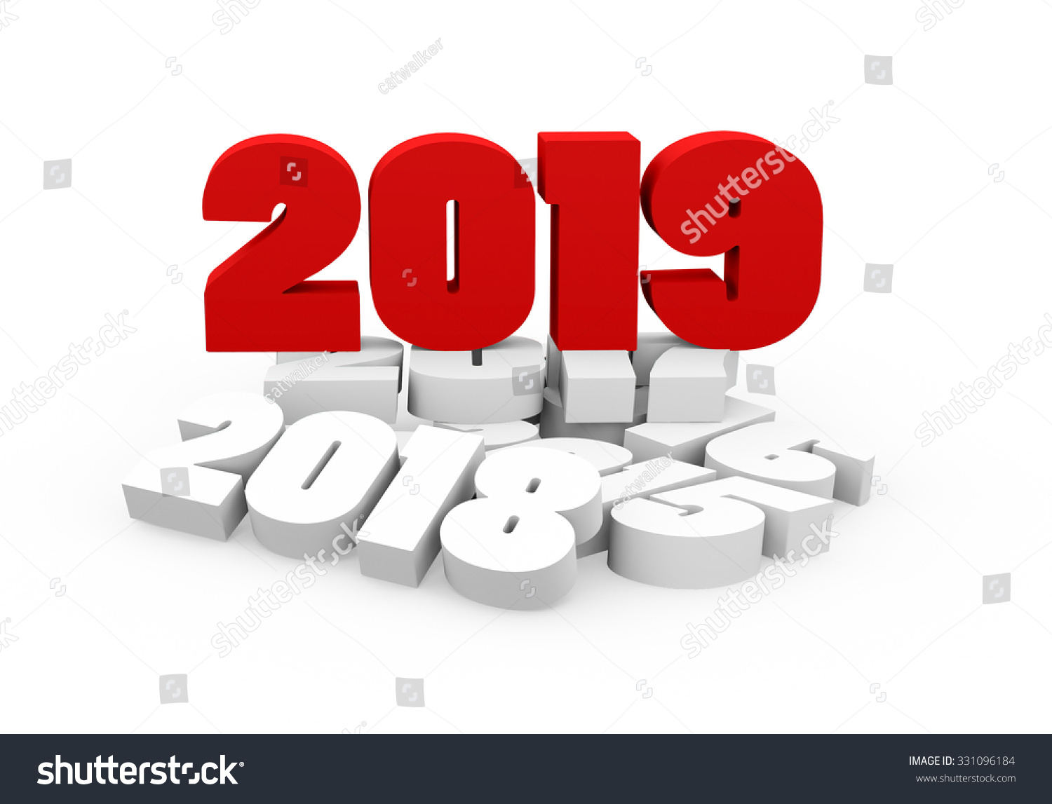 3D render New Year 2019 and past years on a white background