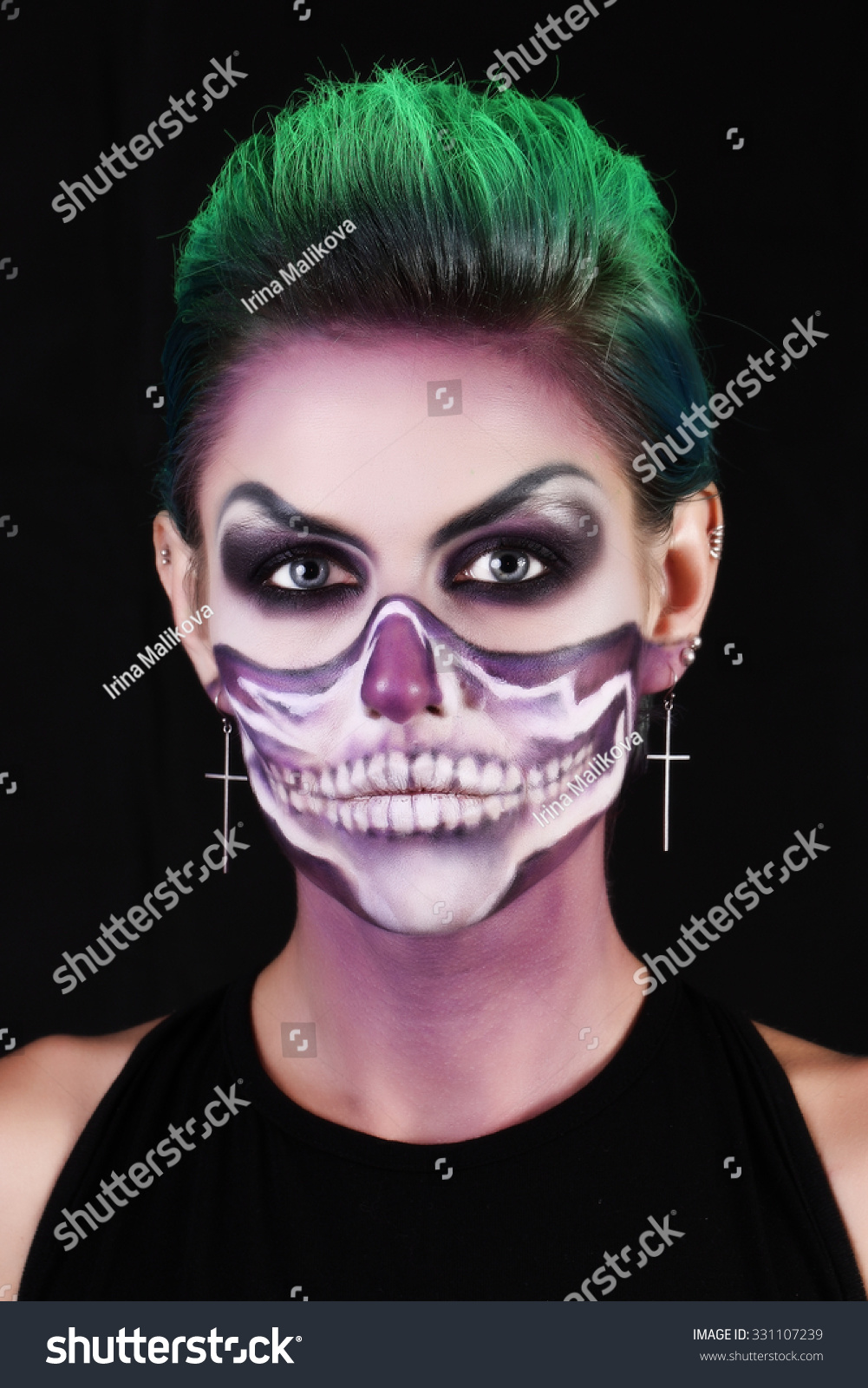 girl image zombie makeup halloween stock photo (edit now) 331107239