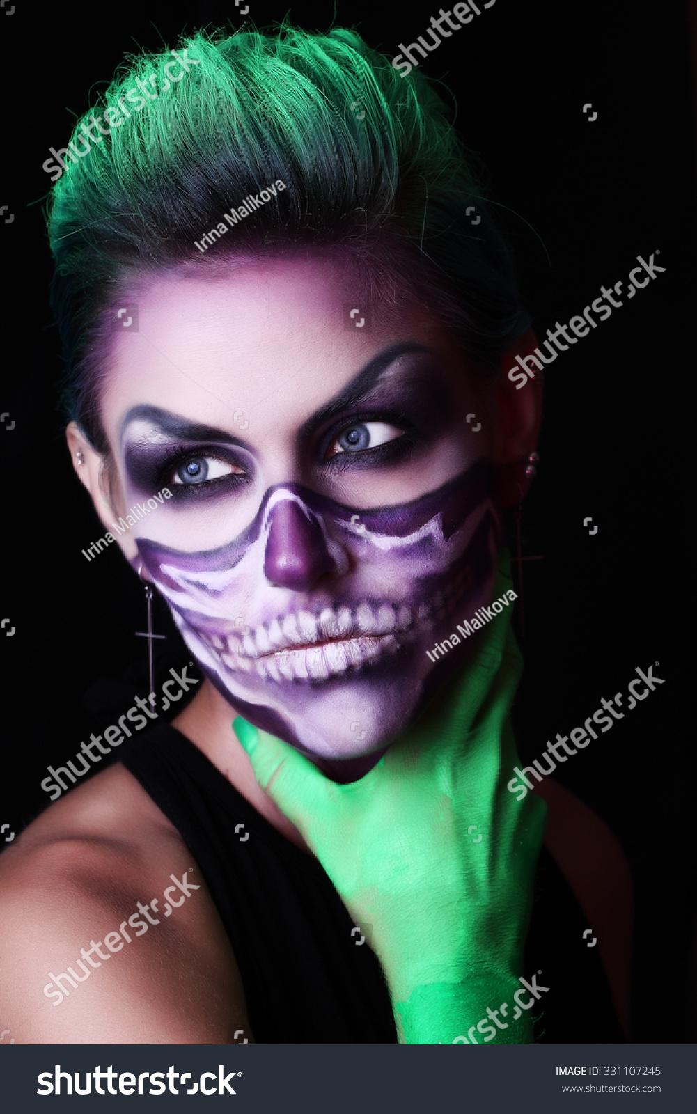 girl image zombie makeup halloween stock photo (edit now) 331107245
