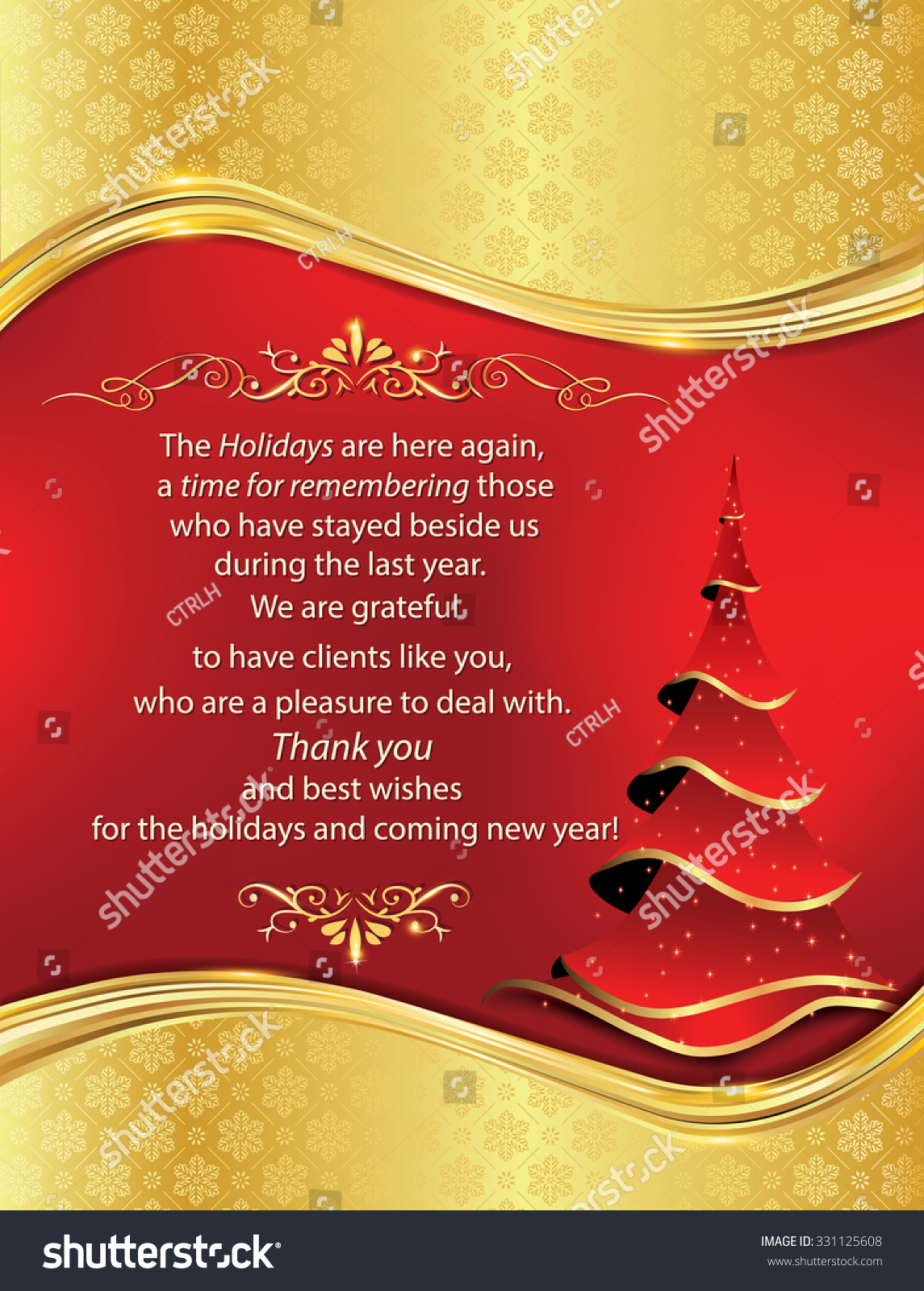 Business Thank You Greeting Card Christmas Stock Illustration