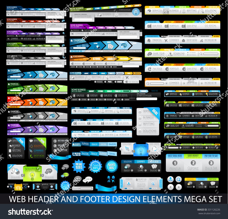 Mega Collection Website Templates Web Headers Stock Vector Royalty
