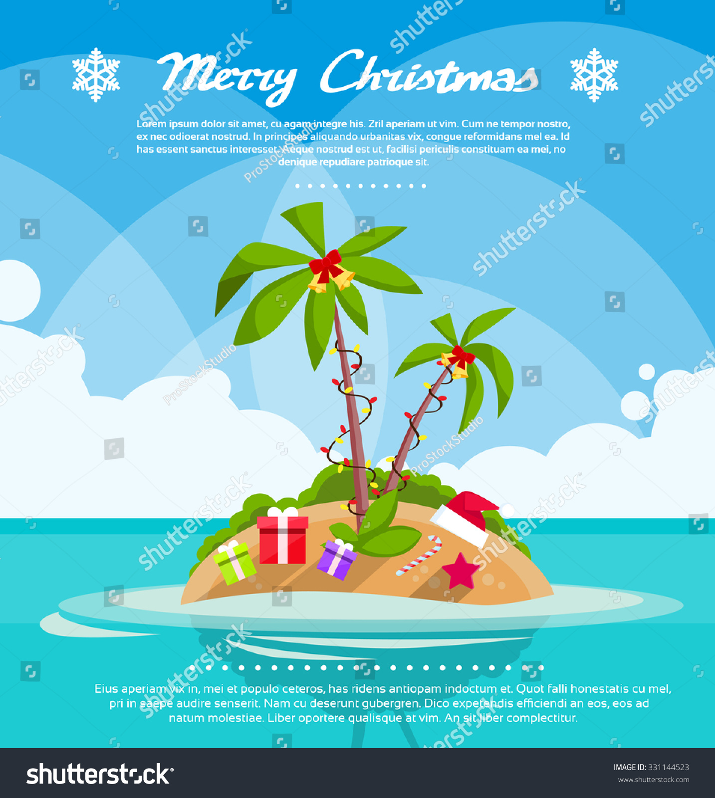 New Year Christmas Vacation Holiday Tropical Stock Vector ...