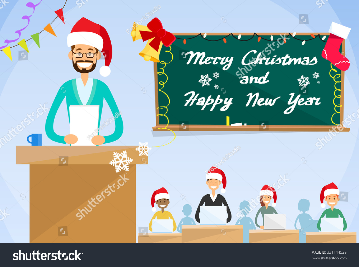 university professor lecture new year christmas holiday hat teacher college class group of students people