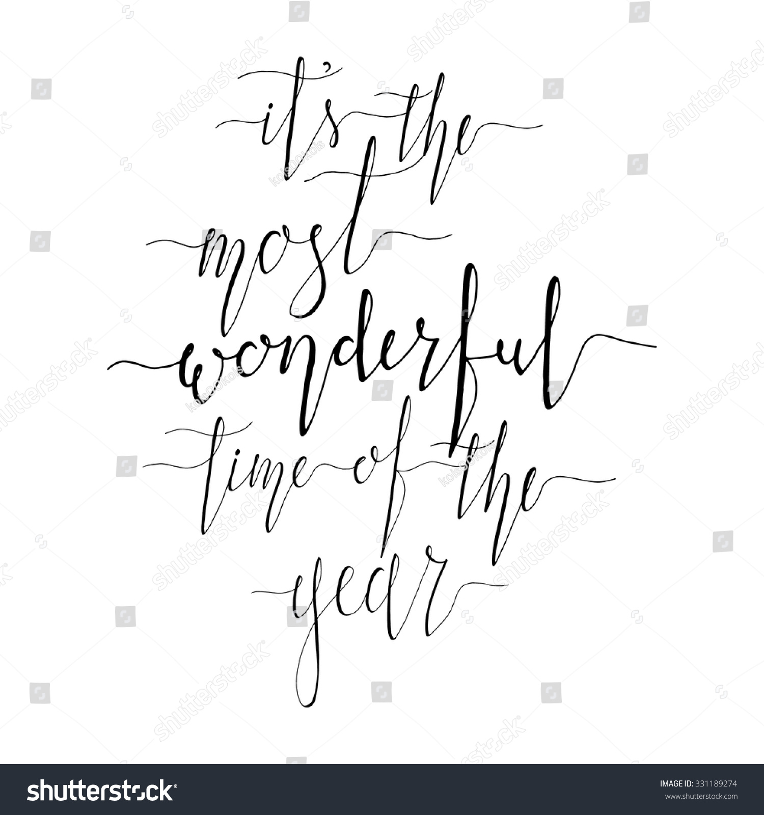 Most Wonderful Time Year Christmas Inspirational Stock Vector ...