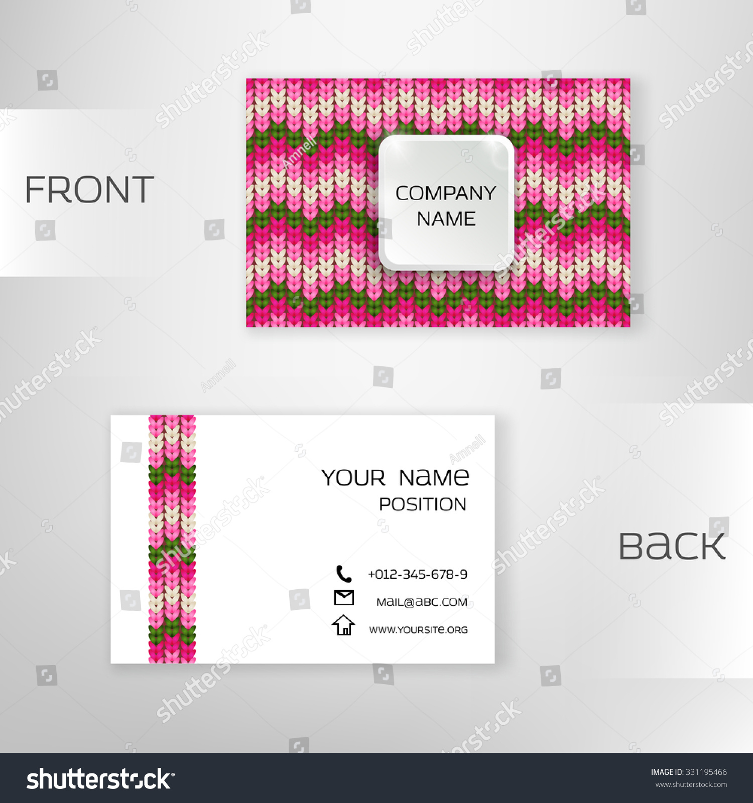 Business Card Template Knitted Background Editable Stock Vector